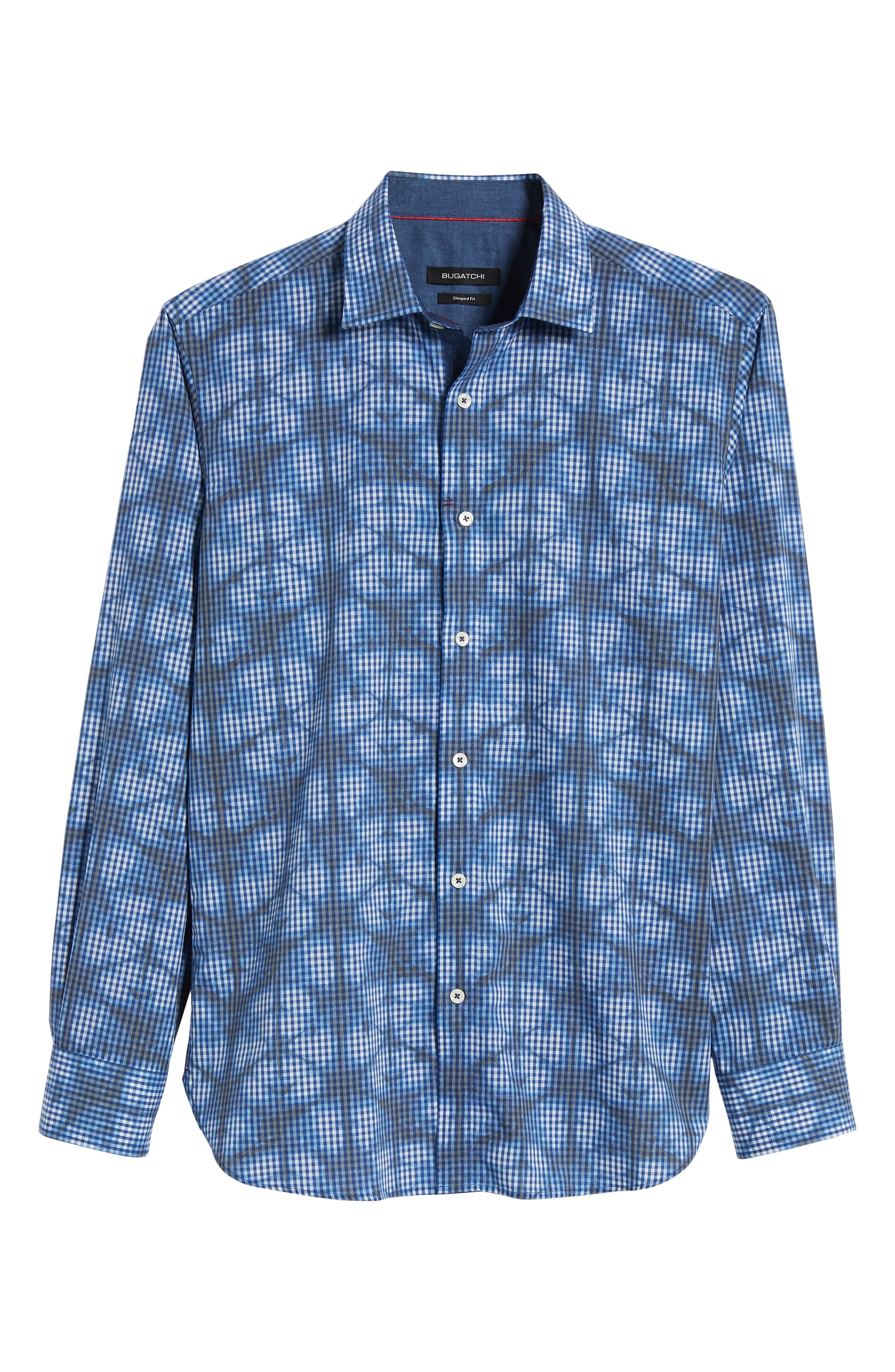 Shaped Fit Abstract Print Sport Shirt,                             Alternate thumbnail 6, color,                             411