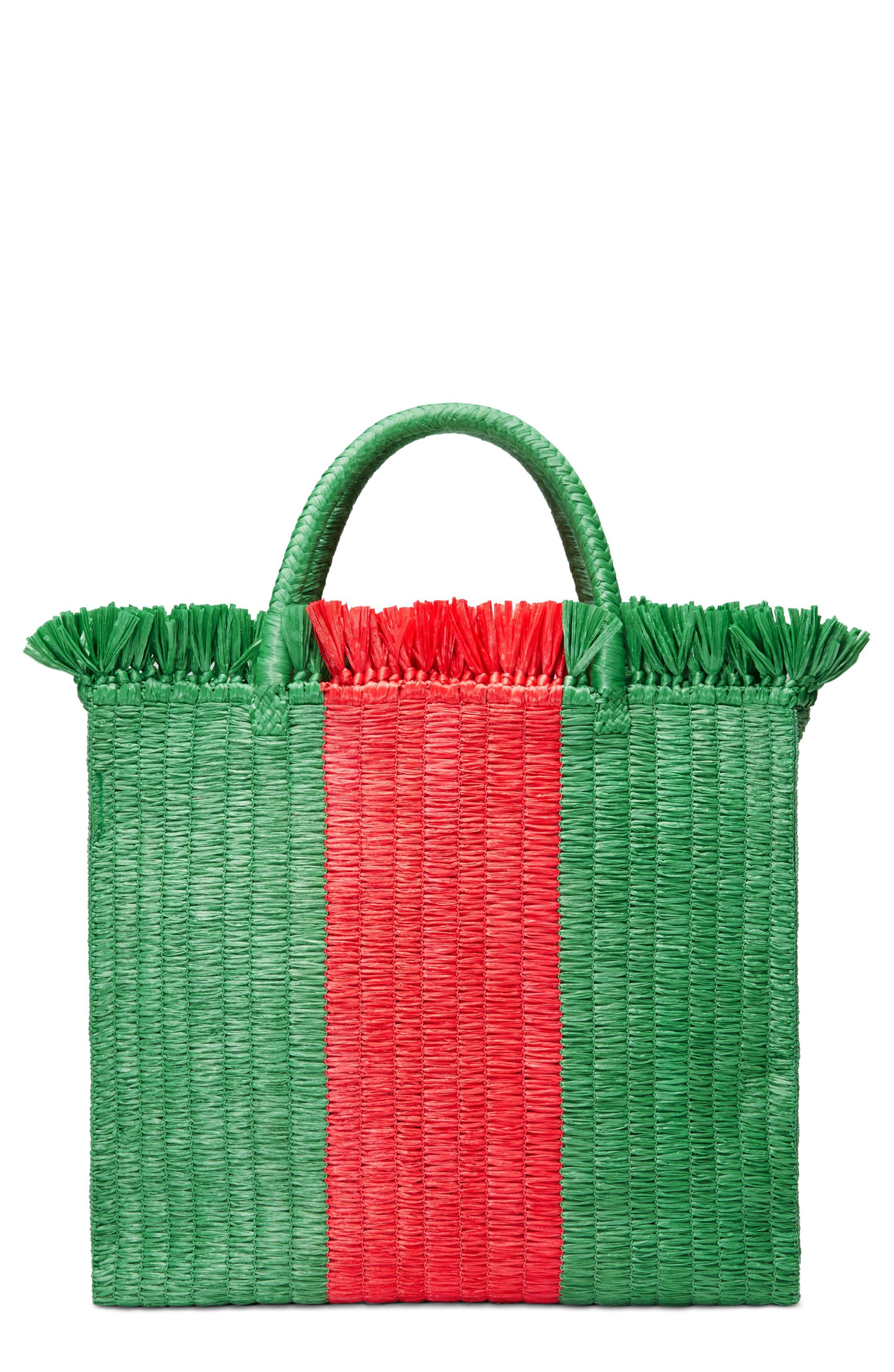GUCCI,                             Web Woven Straw Tote,                             Main thumbnail 1, color,                             VERDE/ ROSSO/ VERDE