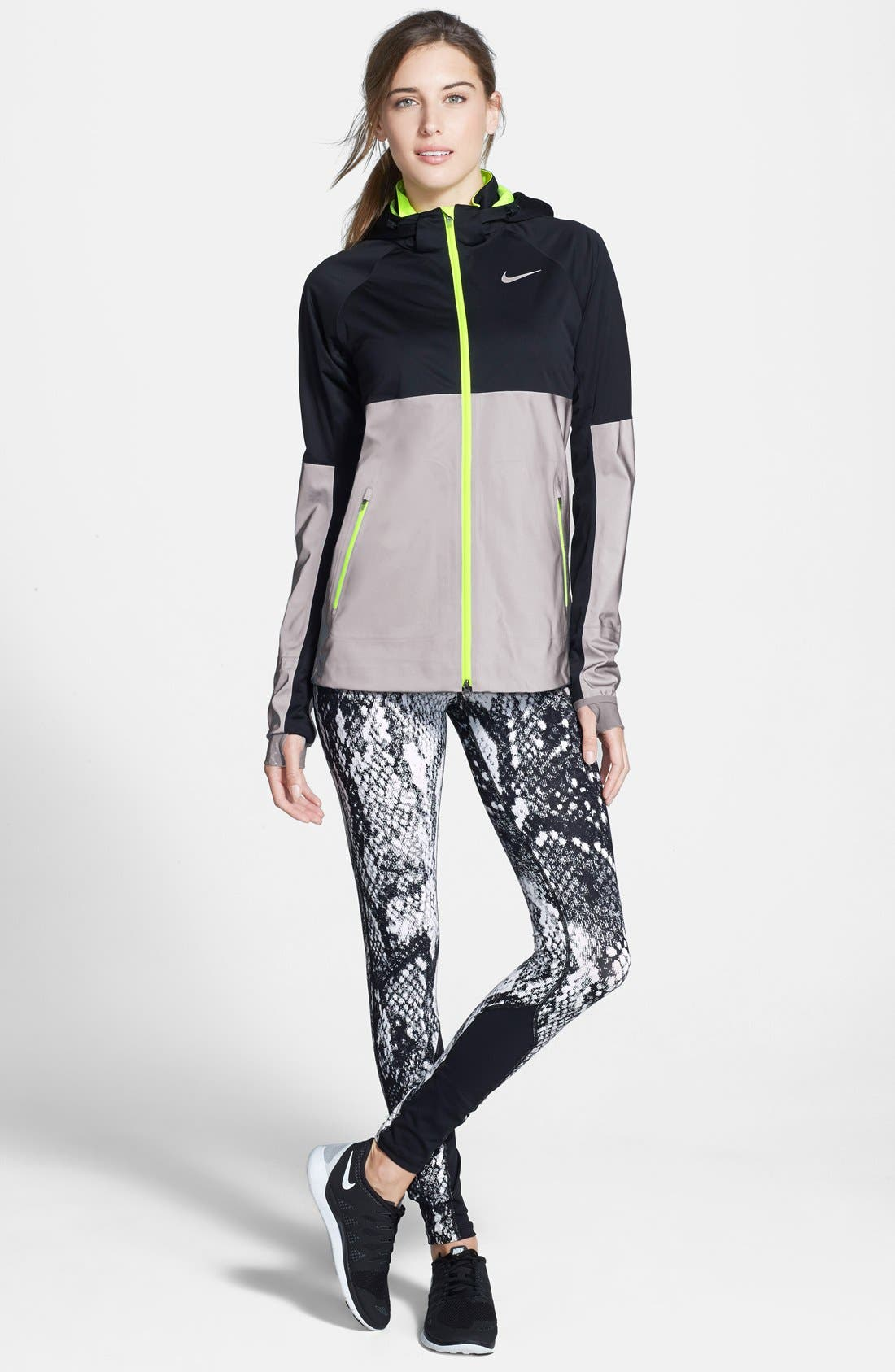'Epic Lux' Snakeskin Print Running Tights,                             Alternate thumbnail 10, color,