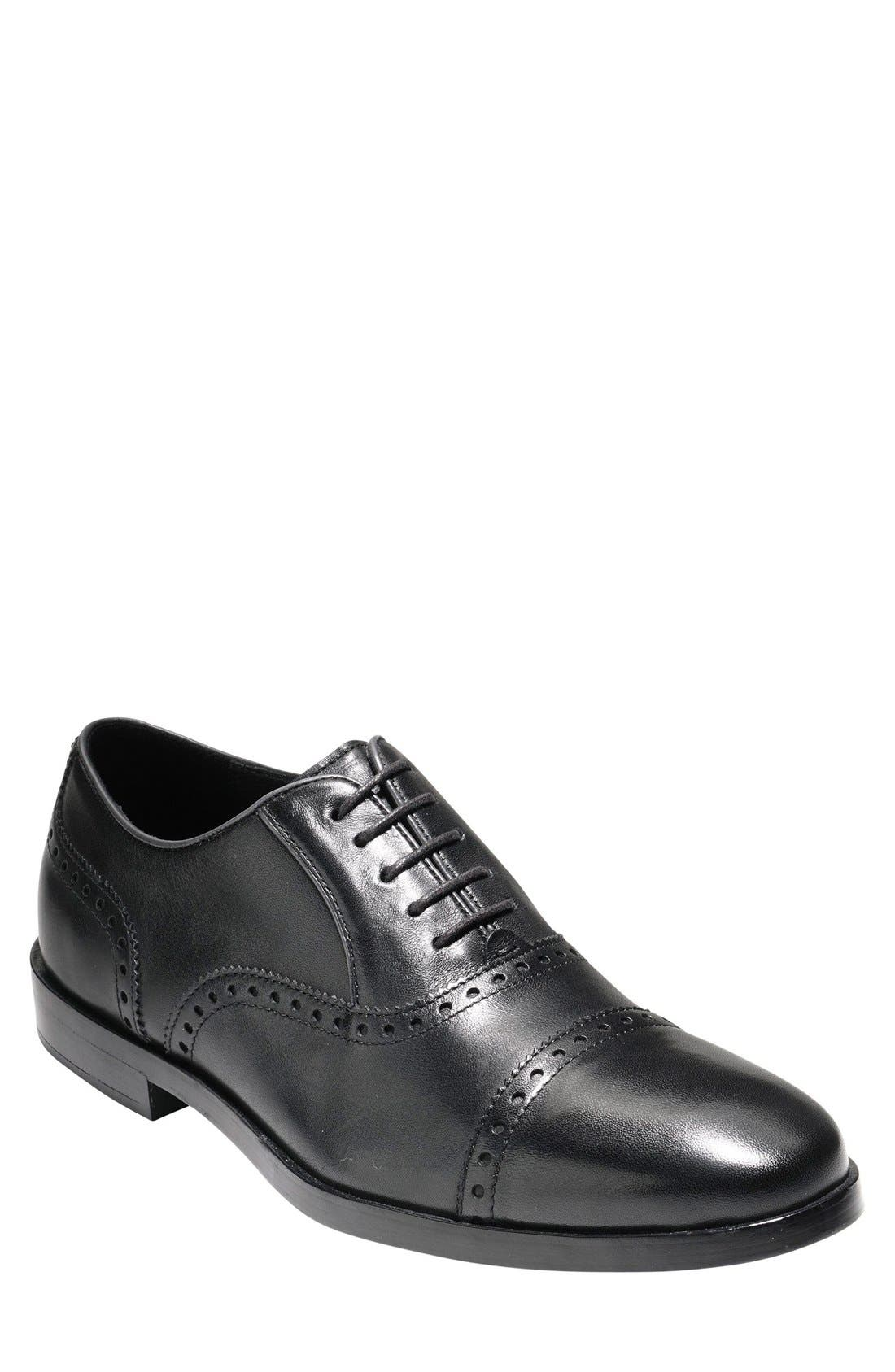 'Hamilton' Cap Toe Oxford, Main, color, BLACK LEATHER