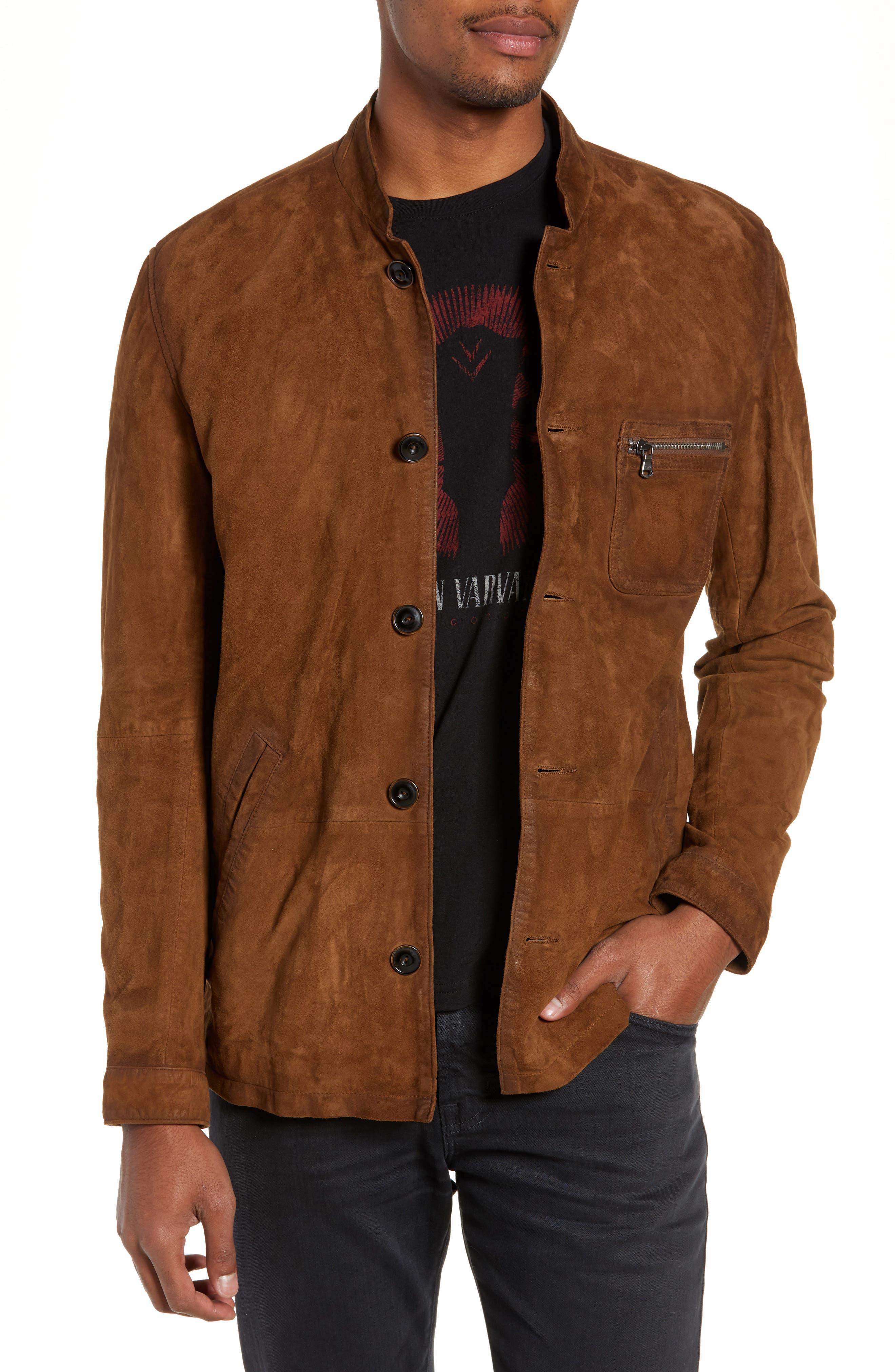 John Varvatos Star Usa Suede Regular Fit Work Coat, Brown