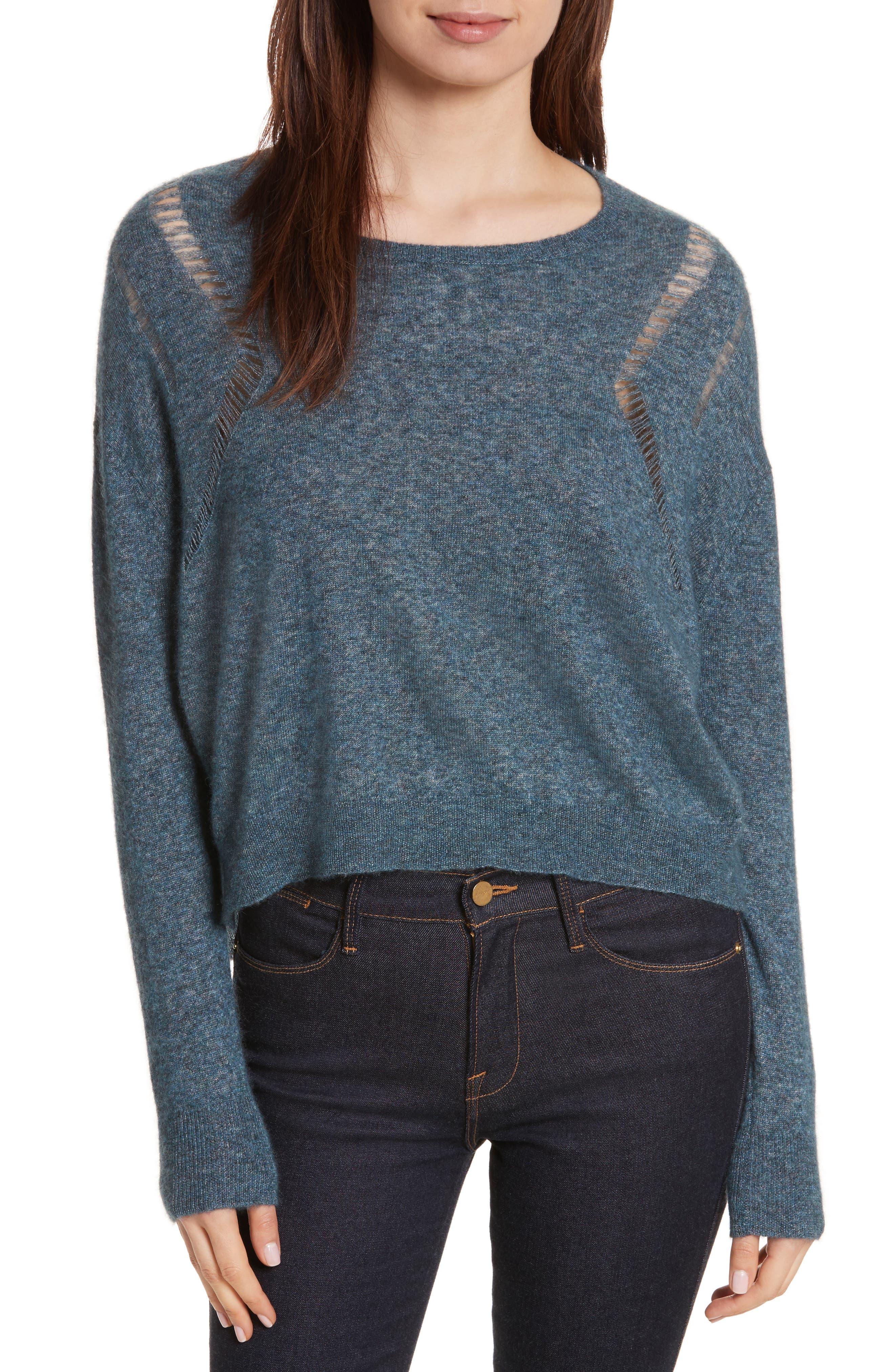 Boxy Ladder Stitch Cashmere & Silk Sweater,                             Main thumbnail 1, color,                             256