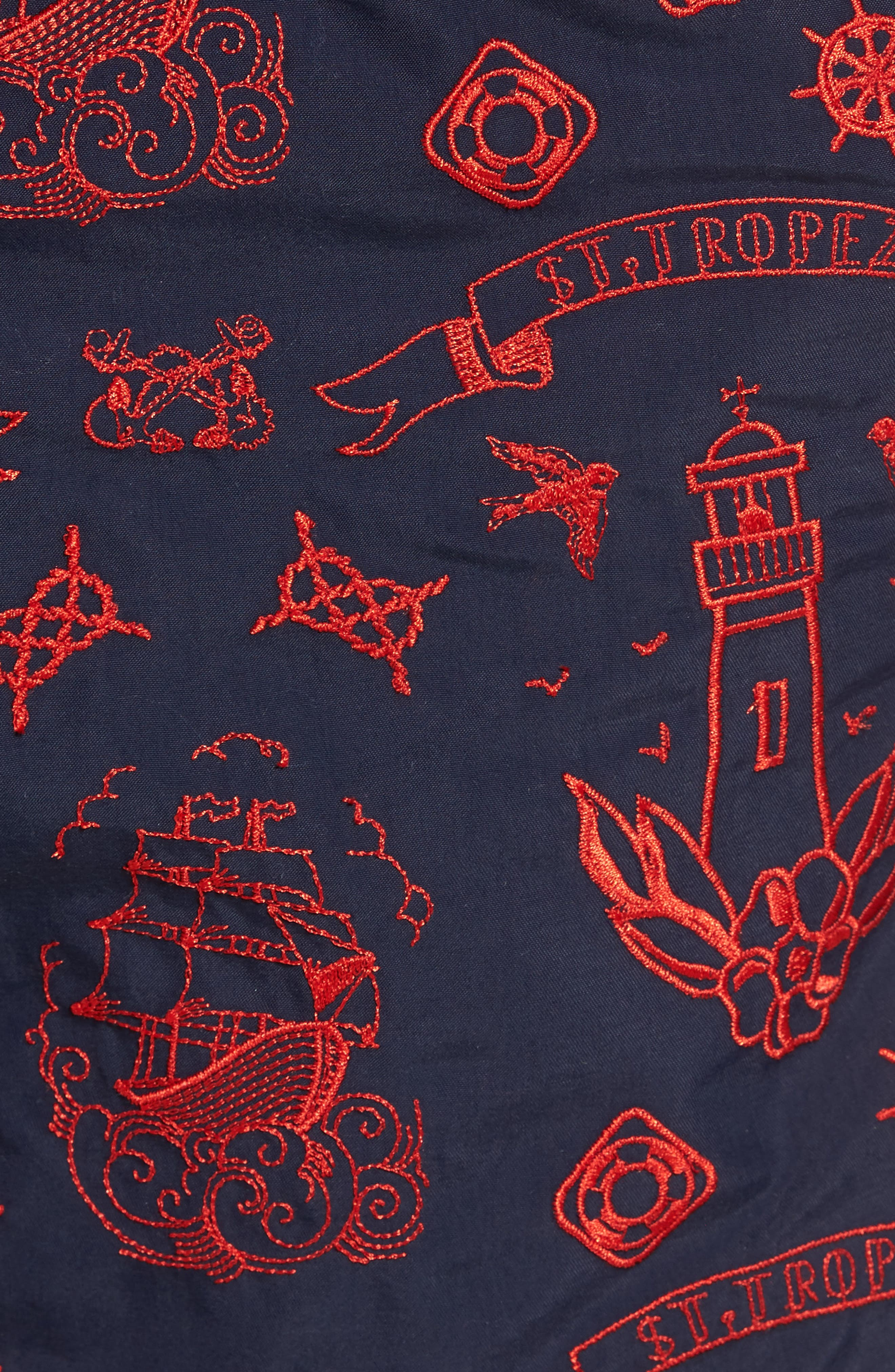 Tattoo Embroidered Swim Trunks,                             Alternate thumbnail 5, color,                             401