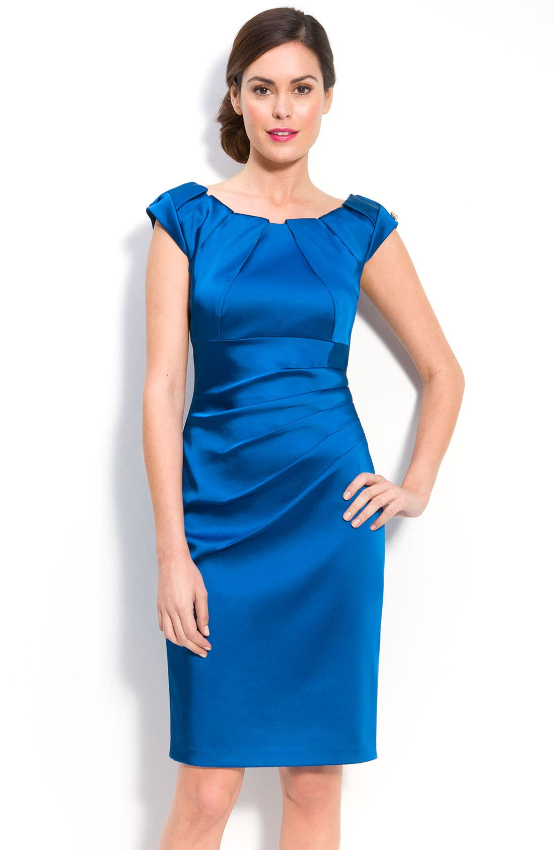Pleat Neck Stretch Satin Sheath Dress, Main, color, 460