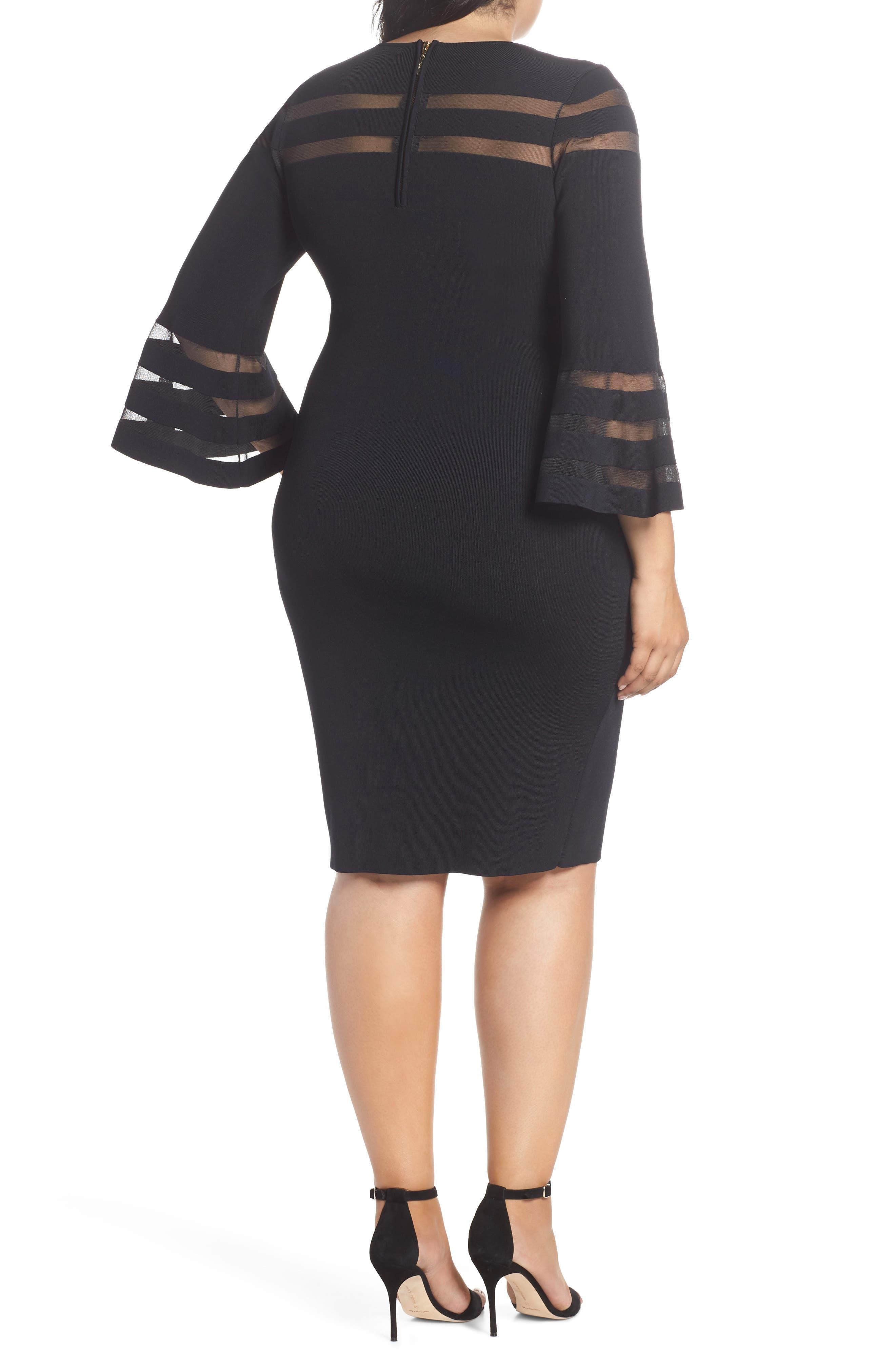 Mesh Stripe Sheath Dress,                             Alternate thumbnail 2, color,                             BLACK