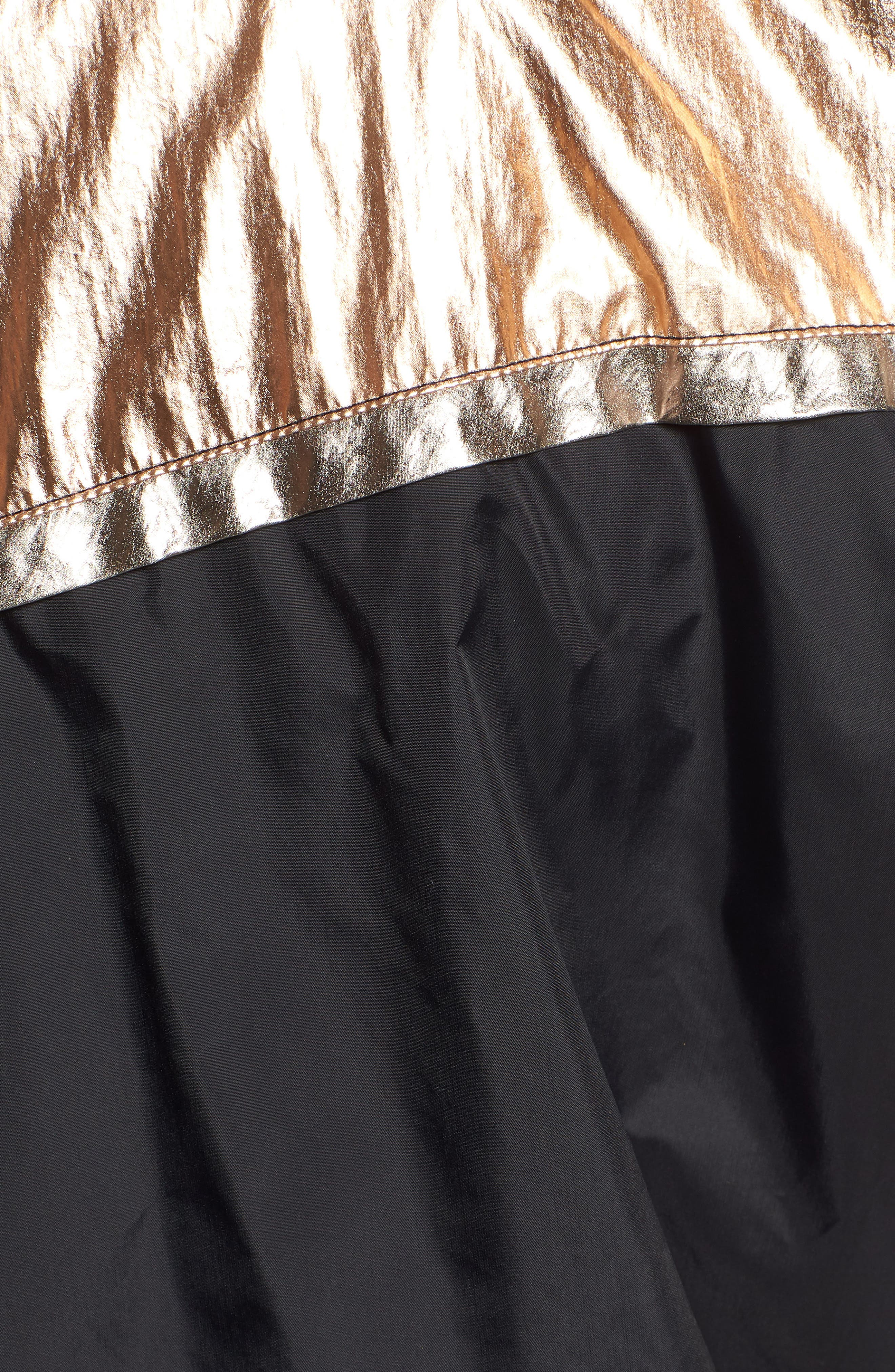Metallic Colorblock Hooded Windbreaker,                             Alternate thumbnail 7, color,                             BLACK