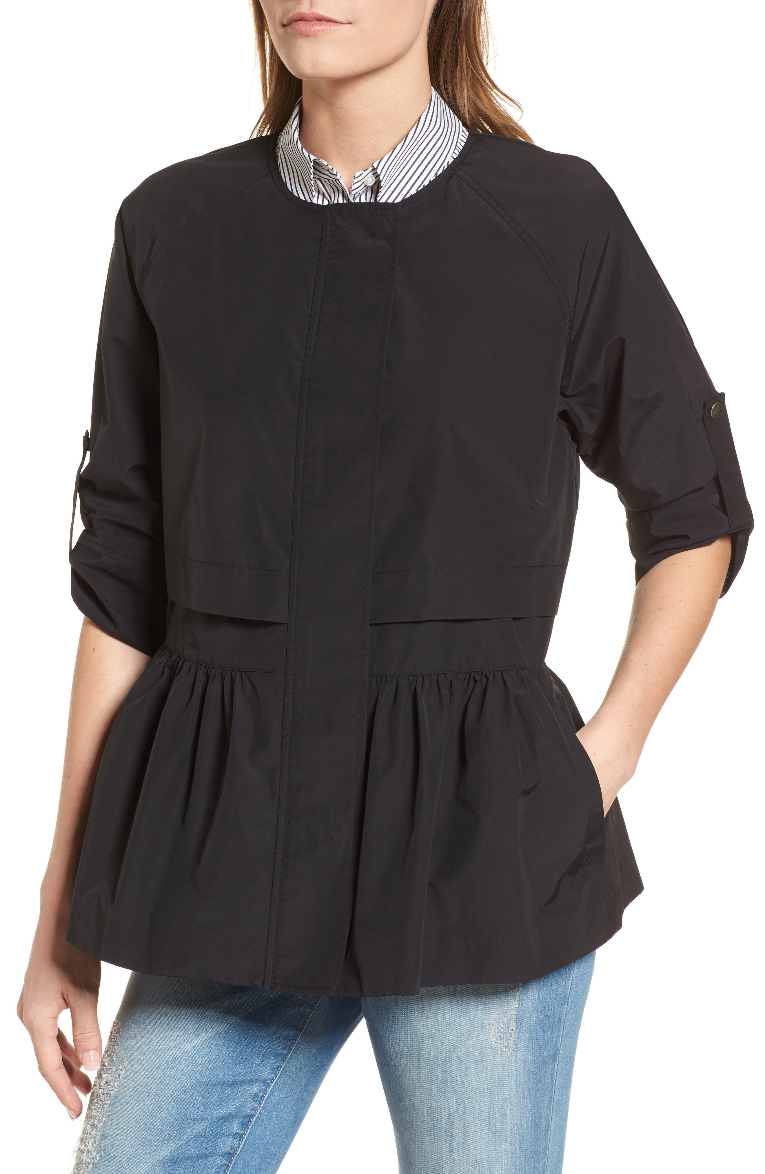 Peplum Cotton Blend Utility Jacket,                             Alternate thumbnail 4, color,                             001