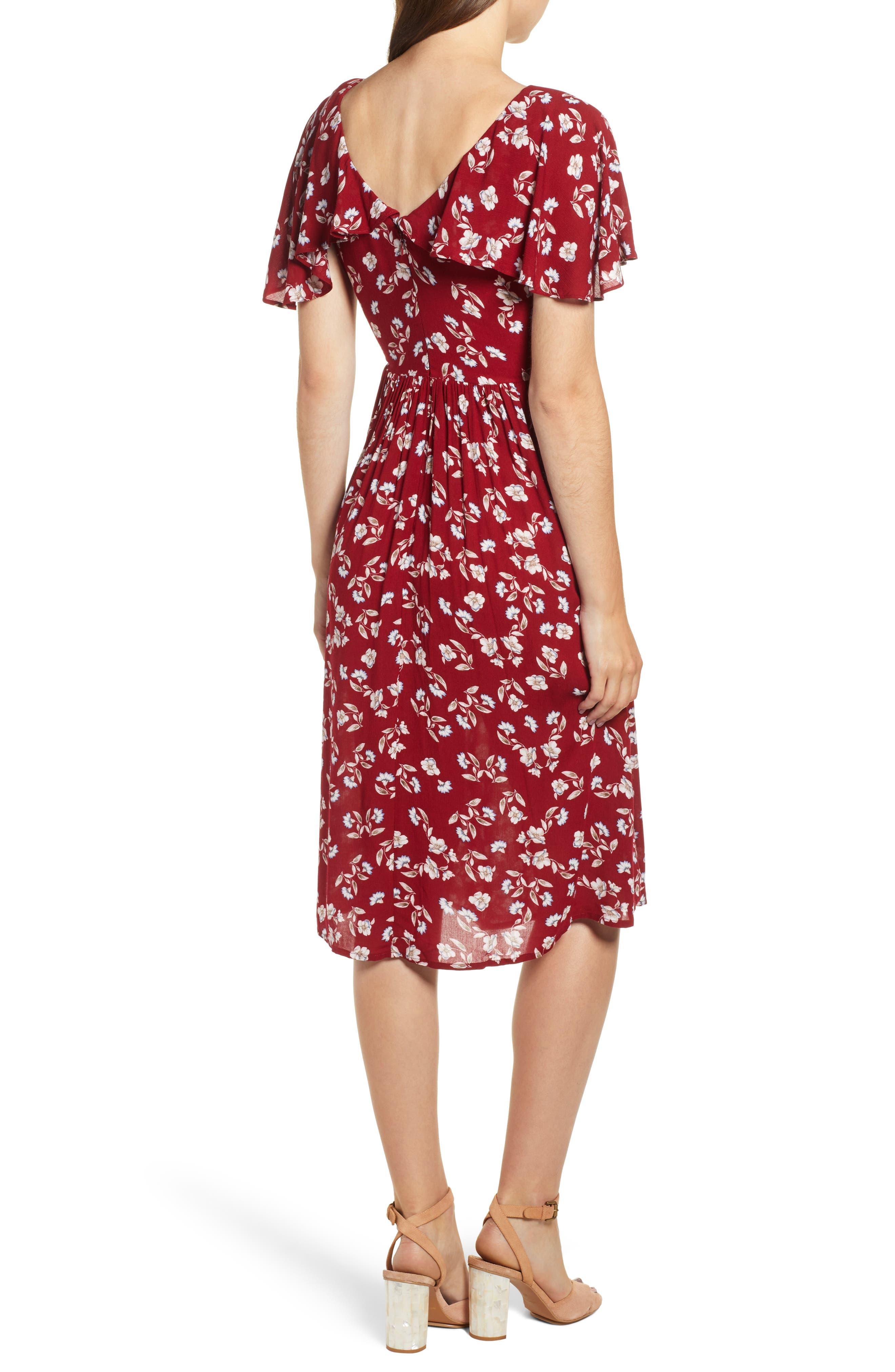 Floral Midi Dress,                             Alternate thumbnail 2, color,                             WINE FLORAL