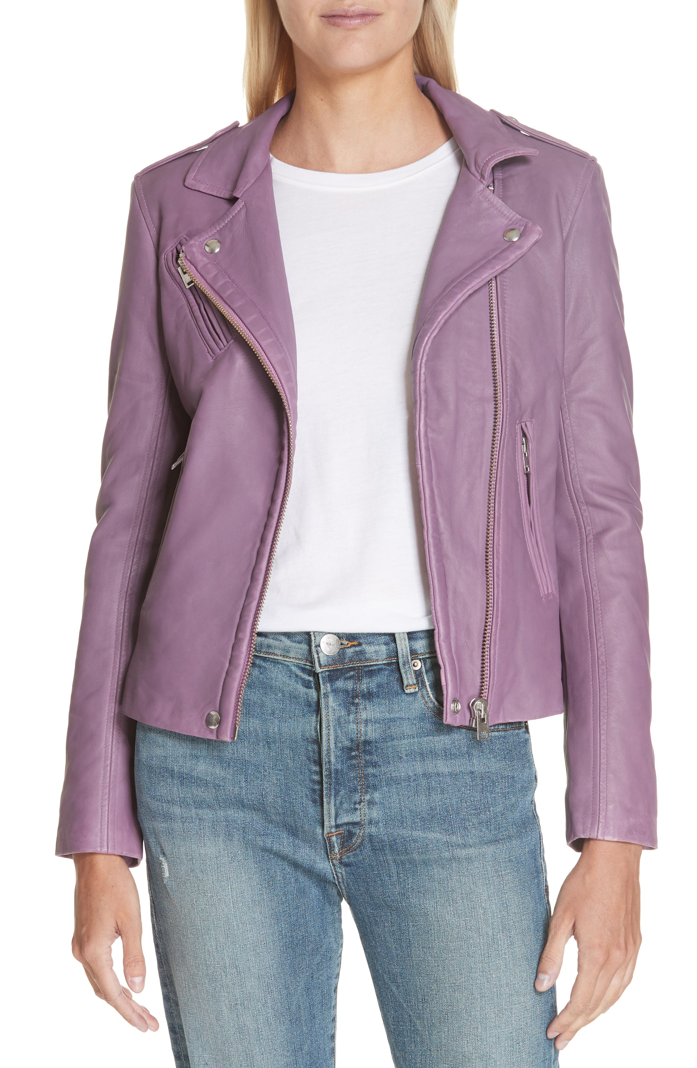 Leather Moto Jacket,                             Main thumbnail 1, color,                             DUSTY PINK
