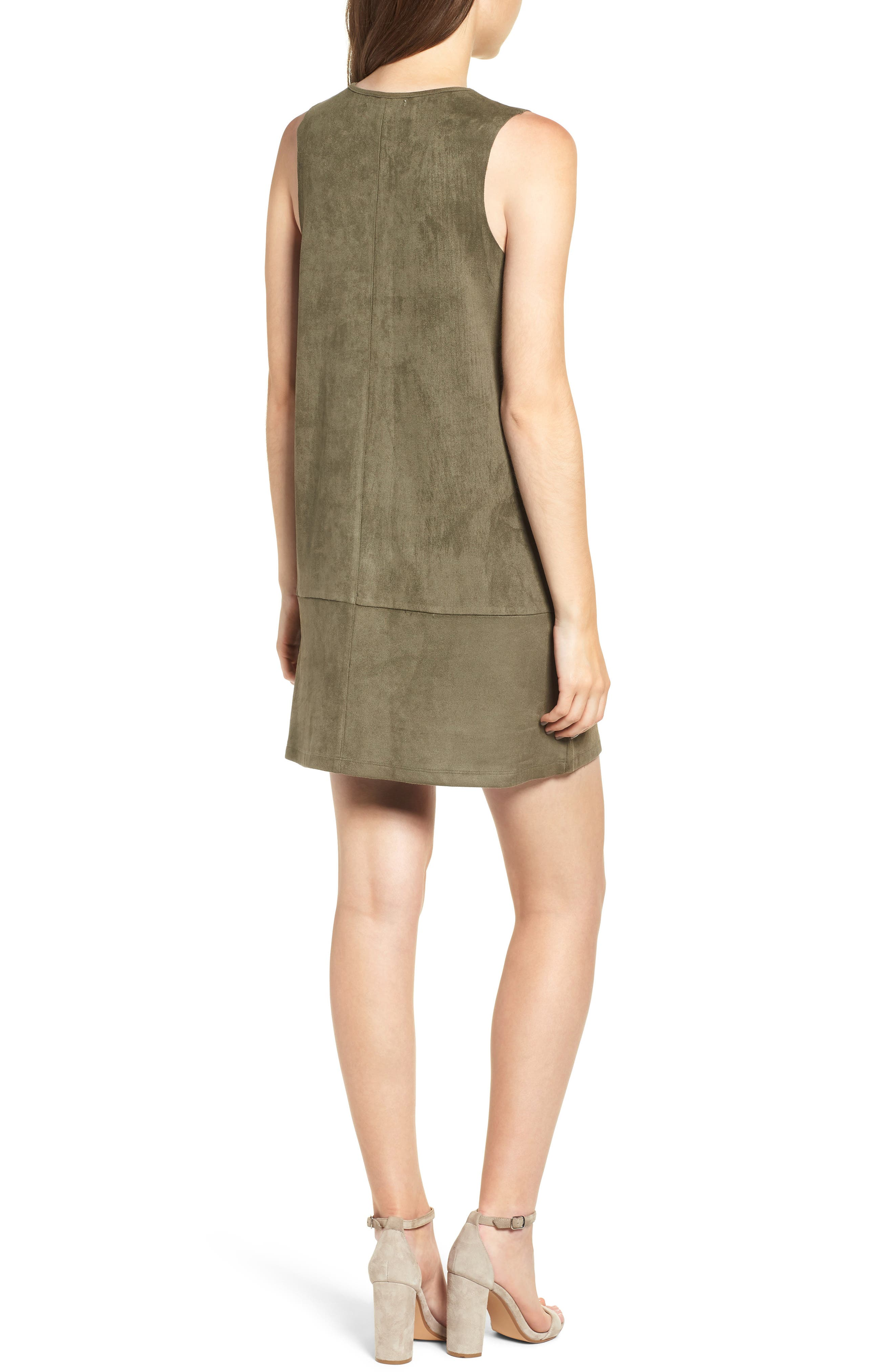 Bishop + Young Sueded Sleeveless Shift Dress,                             Alternate thumbnail 2, color,                             OLIVE