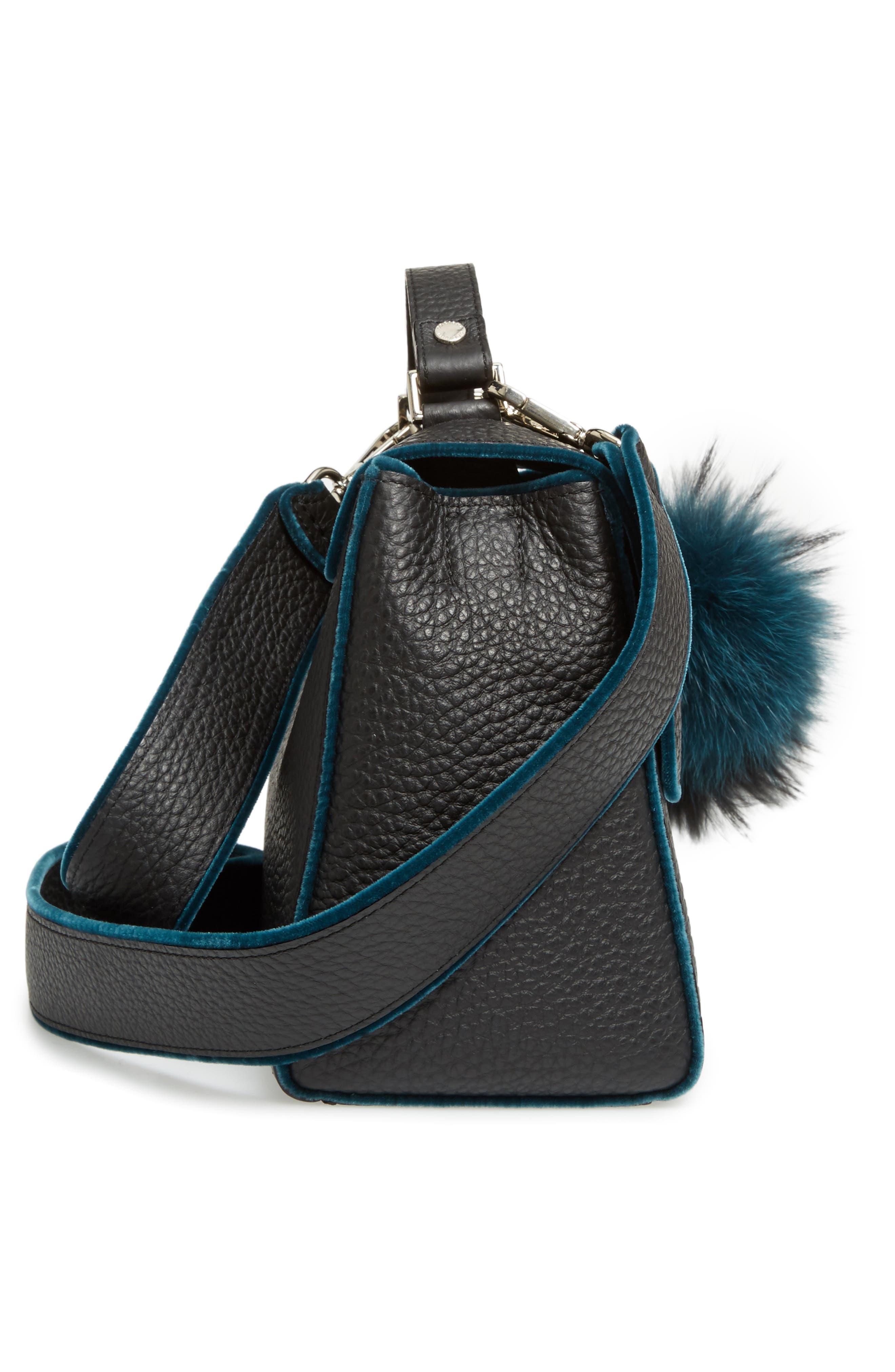 Small Sveva Soft Leather Top Handle Satchel with Genuine Fur Bag Charm,                             Alternate thumbnail 5, color,                             300