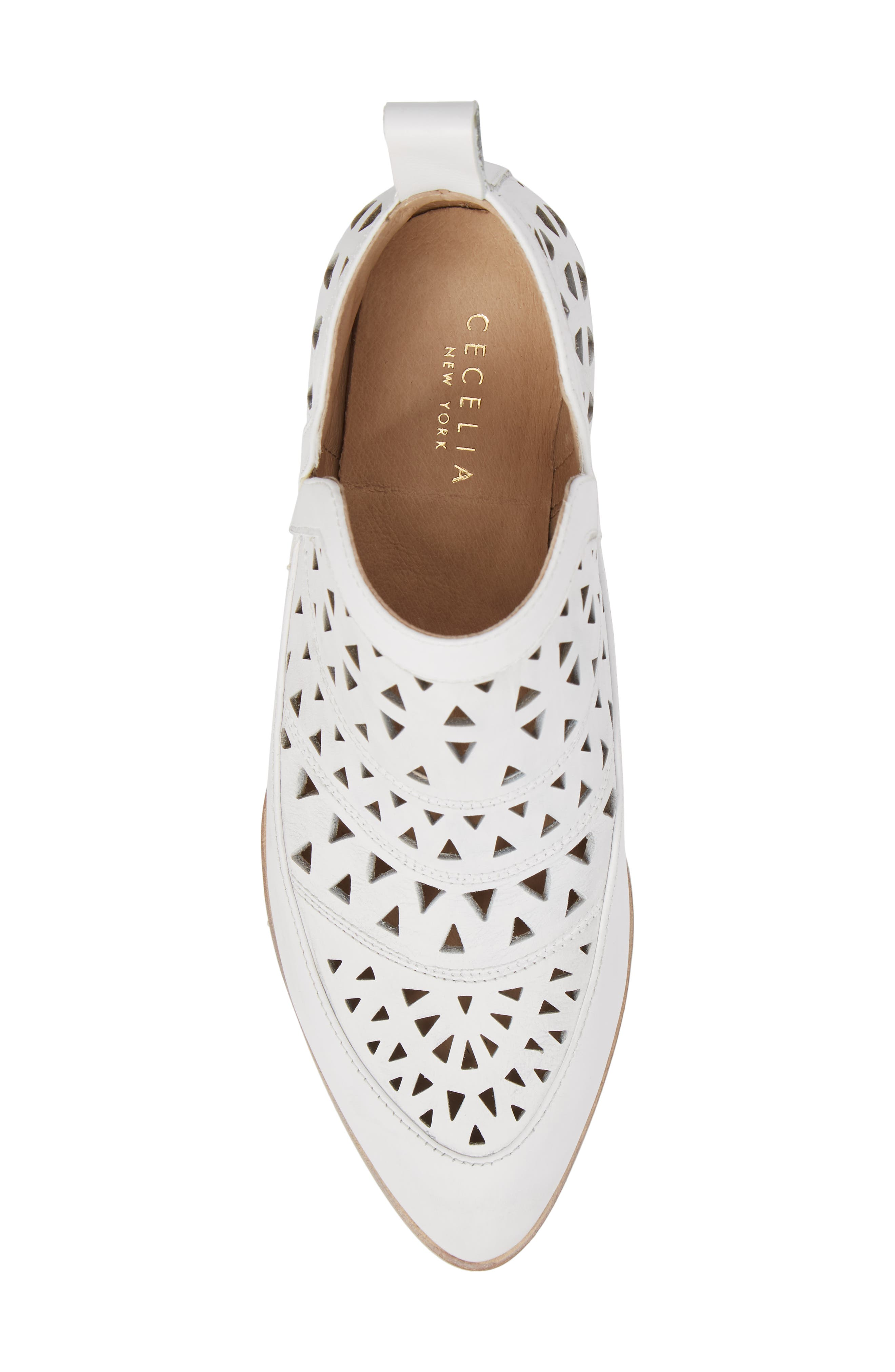 Catherine Cutout Bootie,                             Alternate thumbnail 5, color,                             WHITE LEATHER