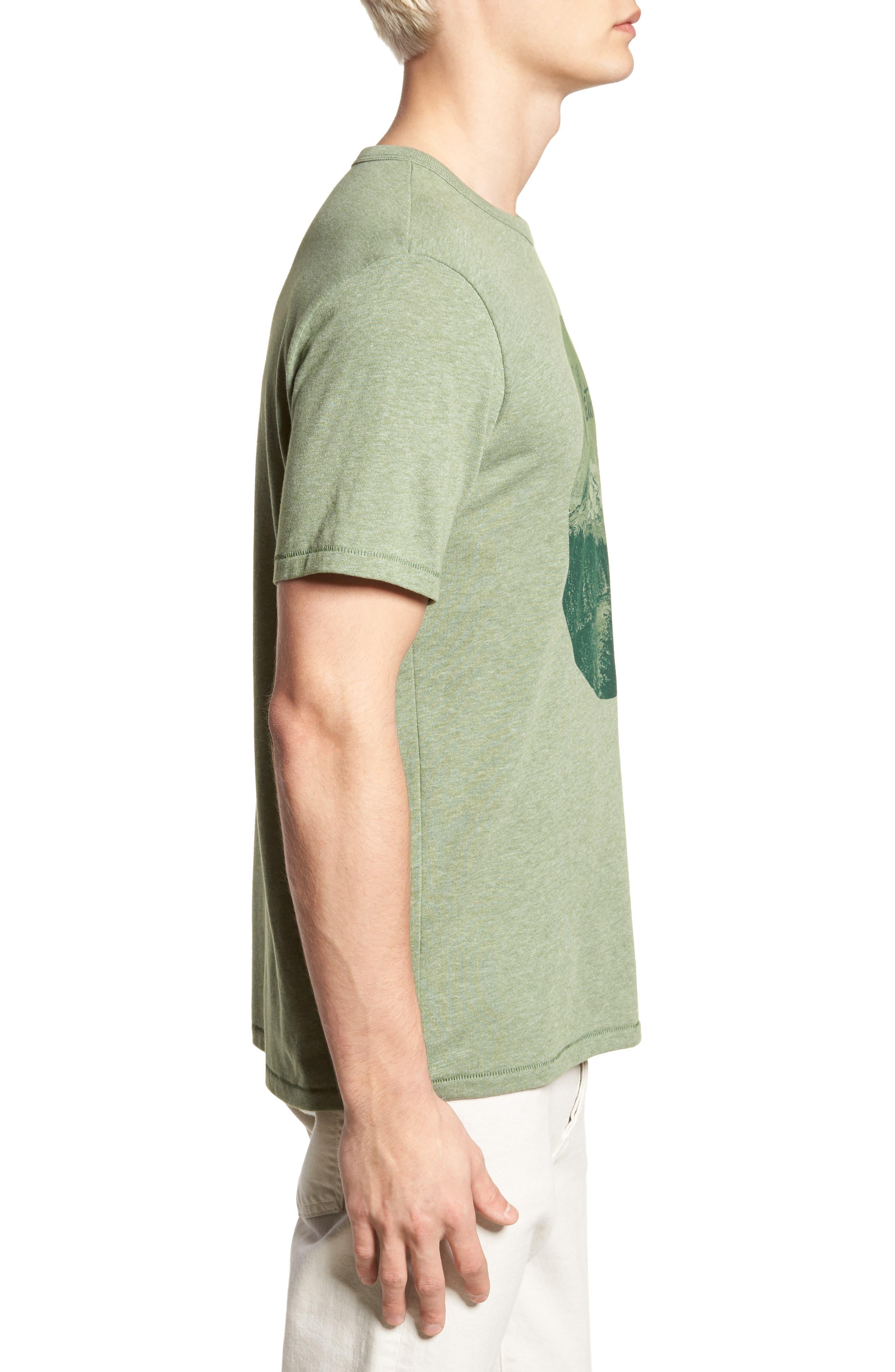 Mt. Hood Crewneck T-Shirt,                             Alternate thumbnail 3, color,                             FOREST GREEN