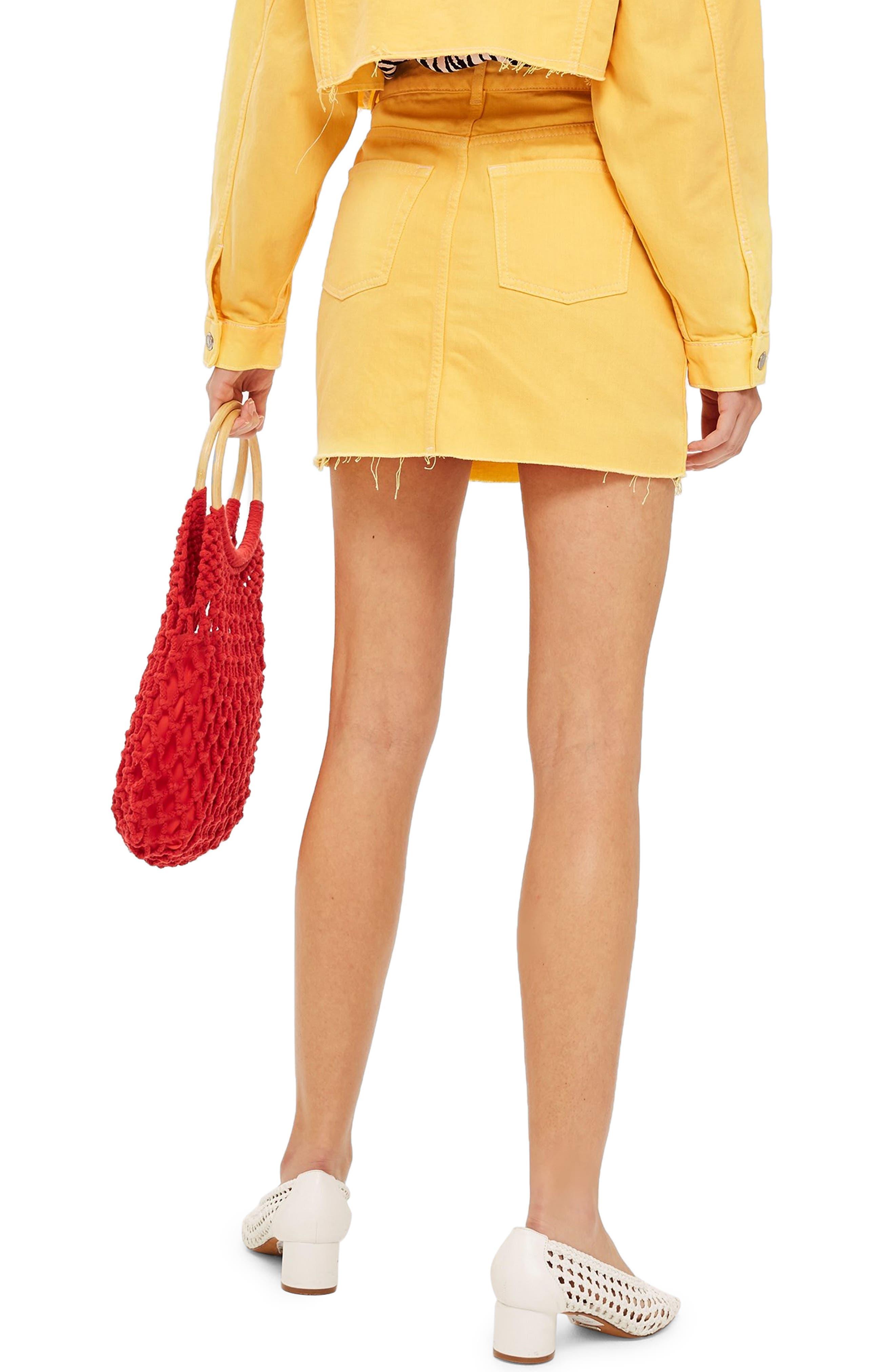 MOTO High Waist Denim Skirt,                             Alternate thumbnail 2, color,                             YELLOW