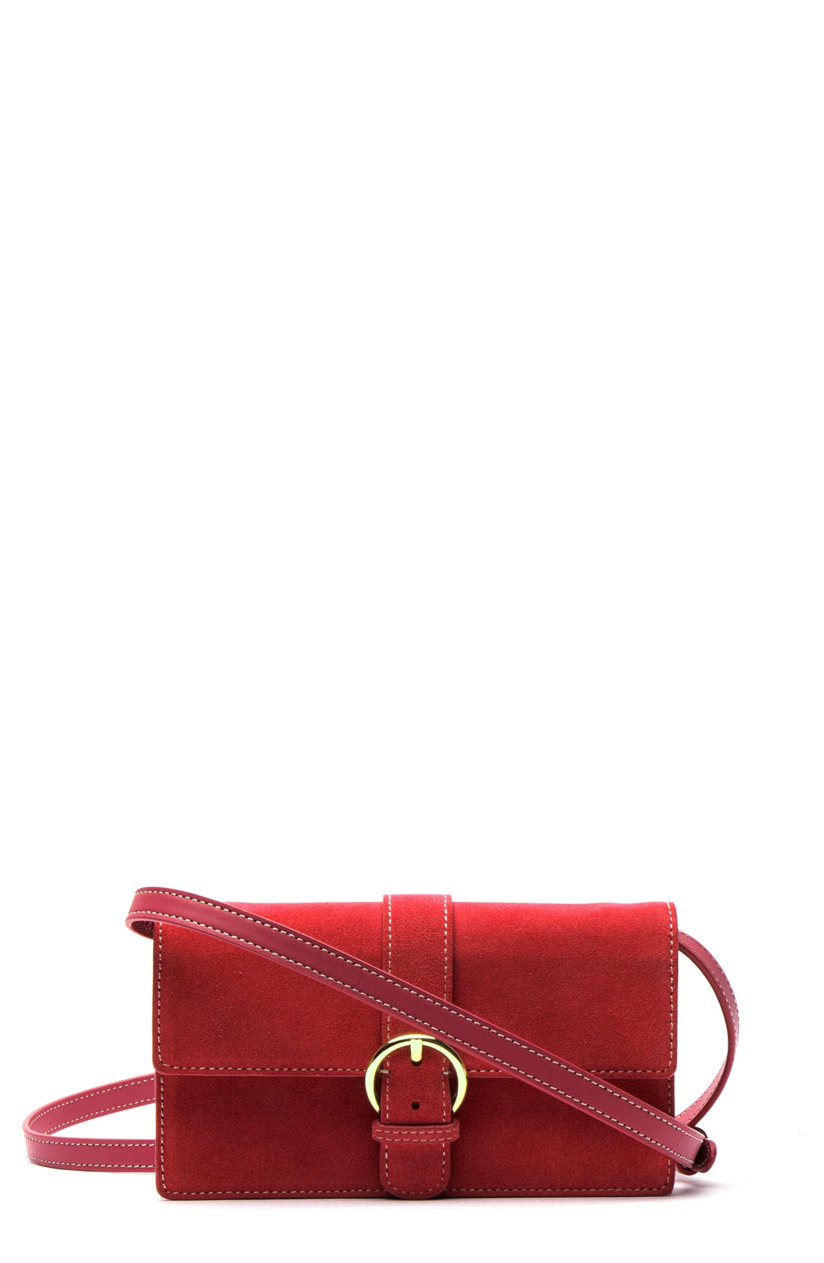 Suede Crossbody Wallet,                             Main thumbnail 1, color,                             RED