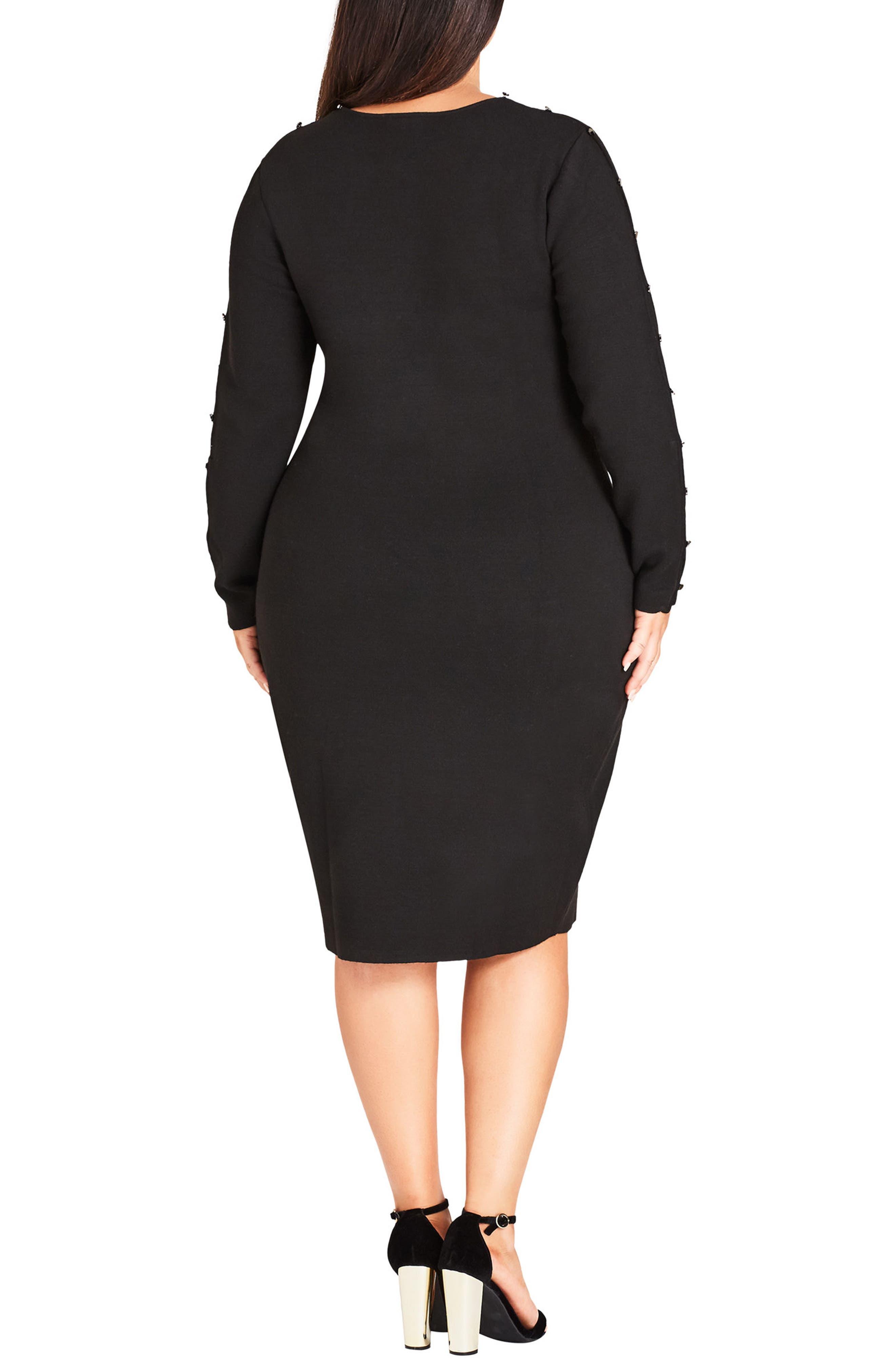 Stud Love Knit Dress,                             Alternate thumbnail 2, color,                             BLACK