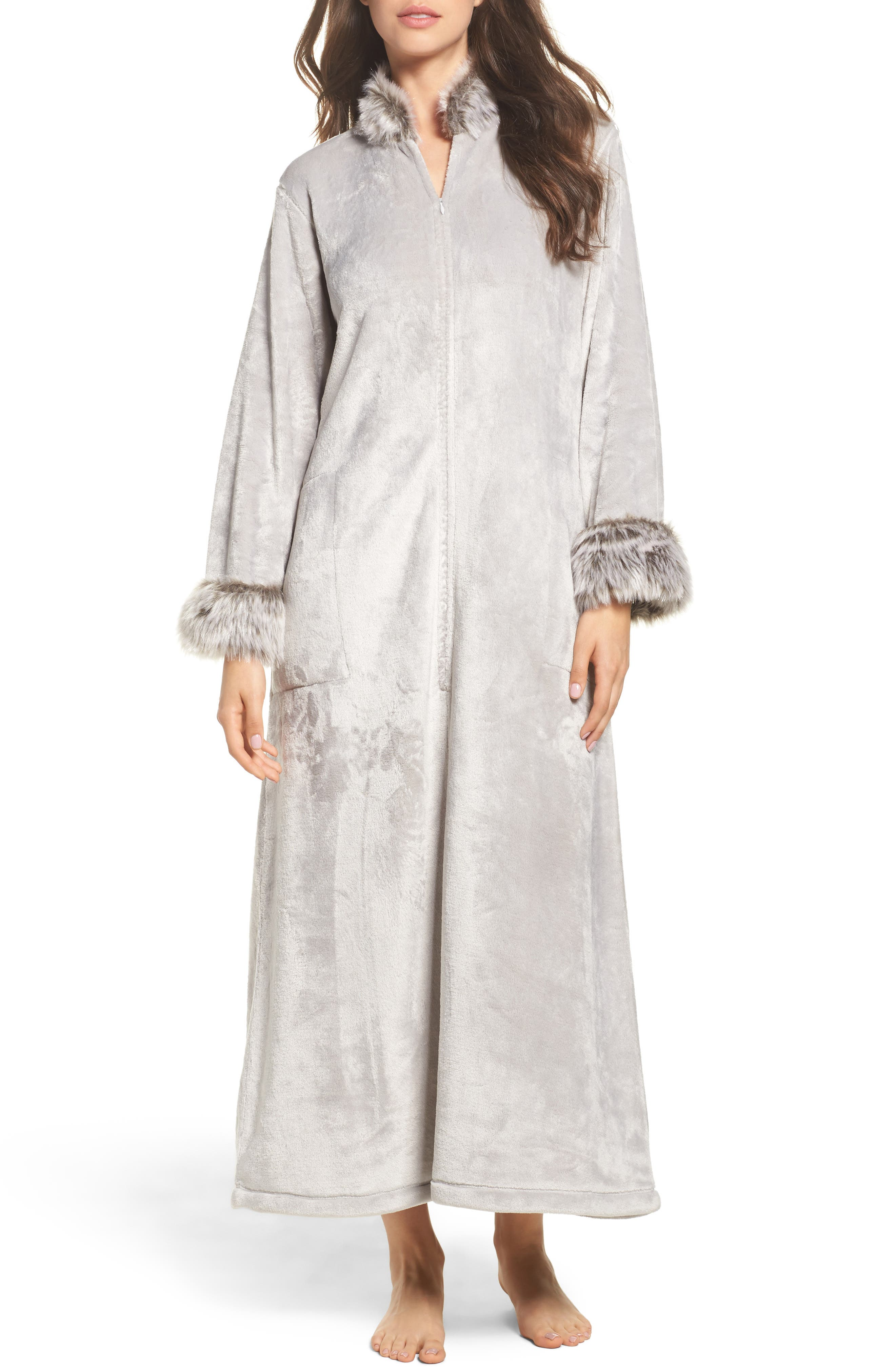 Fleece & Faux Fur Caftan,                             Main thumbnail 1, color,                             052