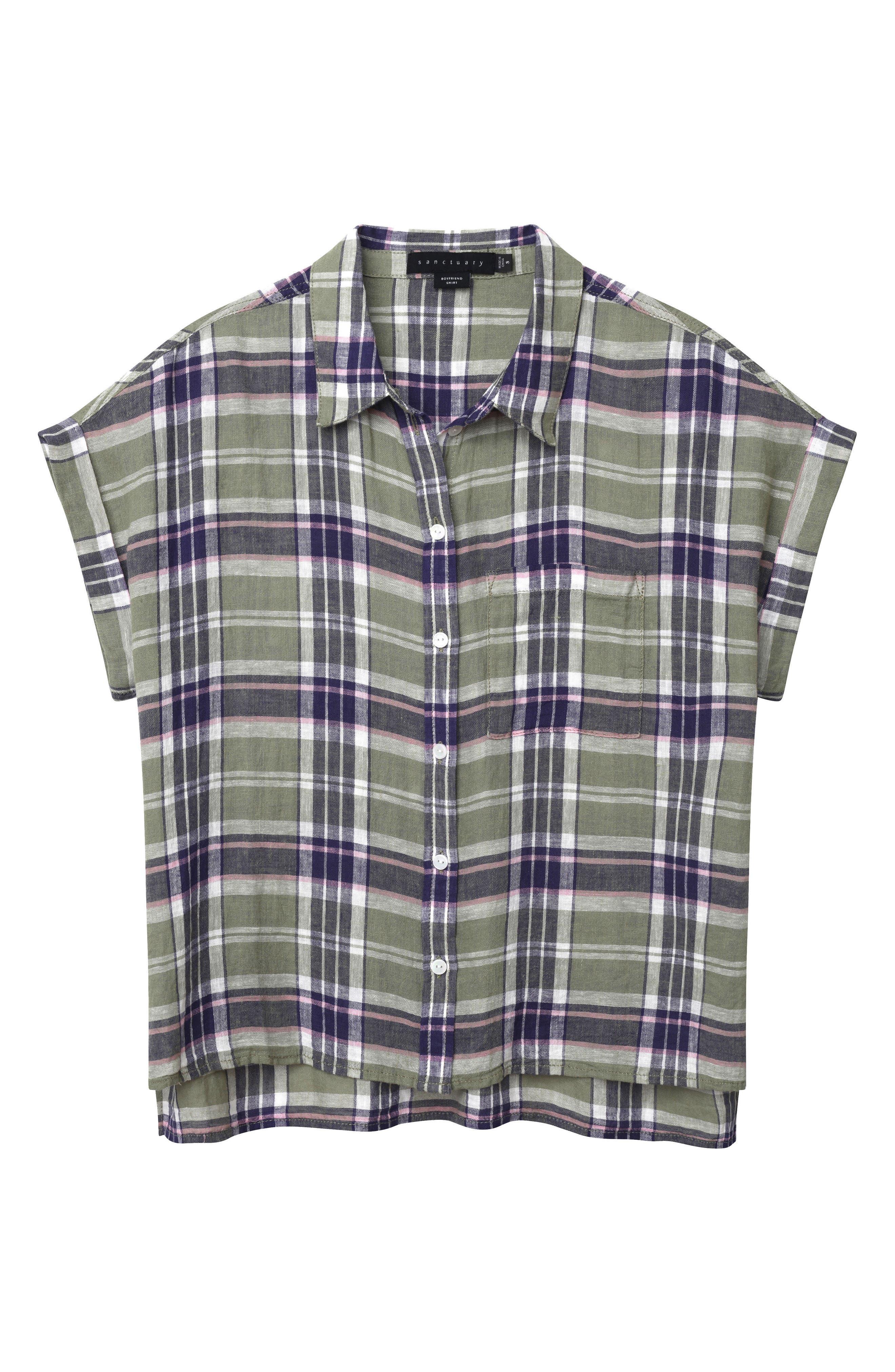 Mod Short Sleeve Boyfriend Shirt,                             Alternate thumbnail 23, color,