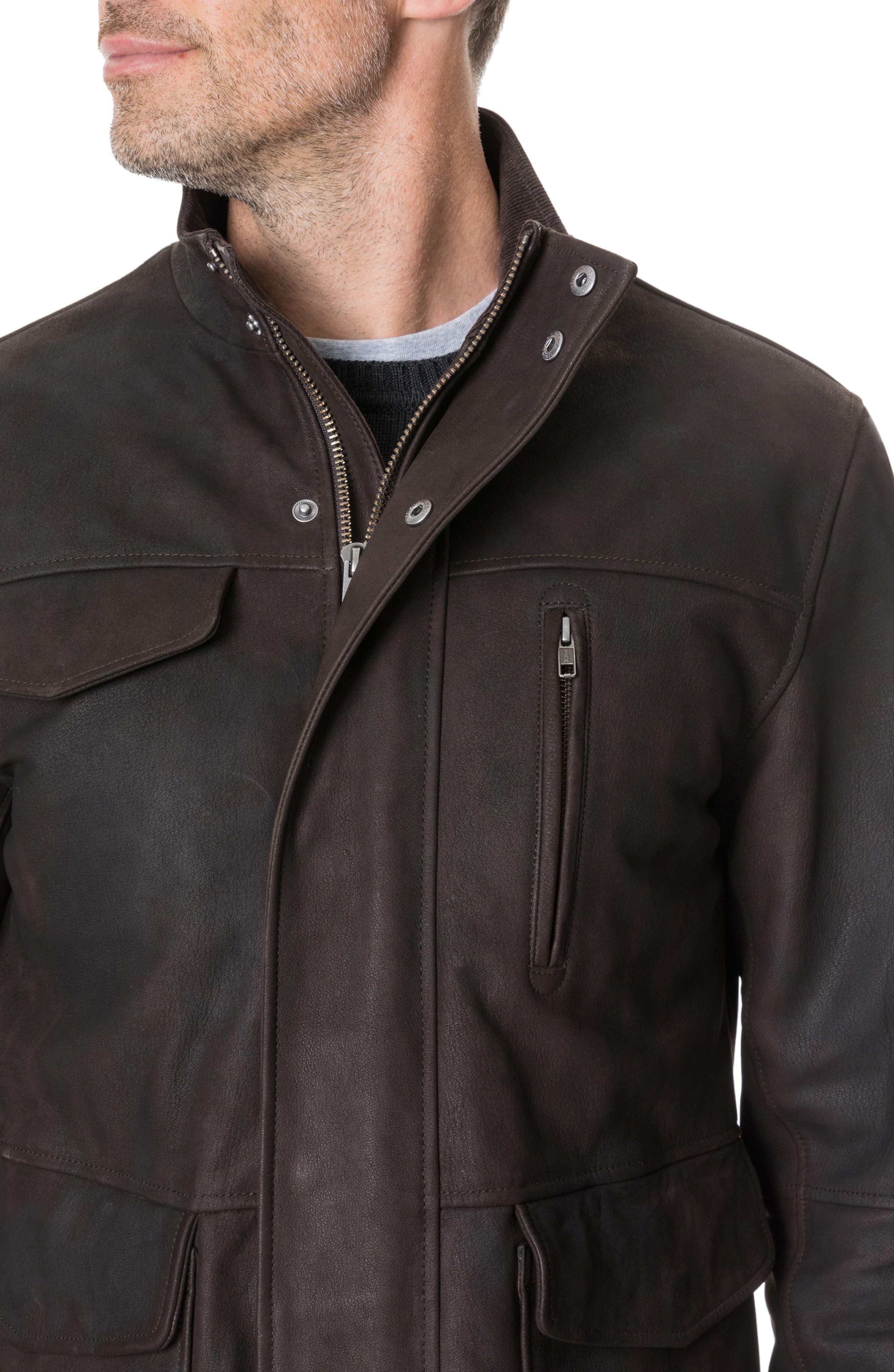 Fairholme Leather Jacket,                             Alternate thumbnail 3, color,                             CHOCOLATE