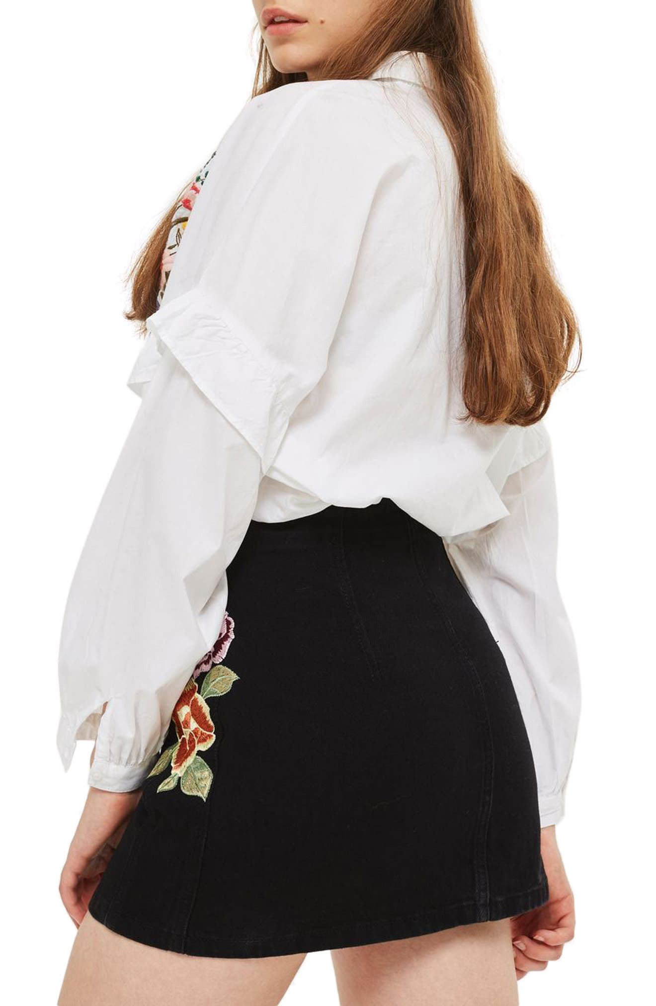 Embroidered Button Front Denim Skirt,                             Alternate thumbnail 2, color,                             001