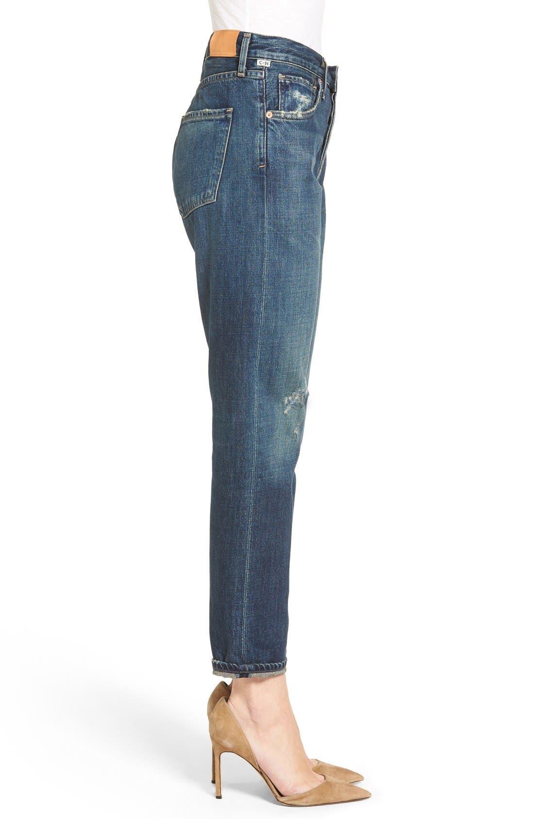 Liya High Waist Slim Boyfriend Jeans,                             Alternate thumbnail 4, color,                             WILTERN