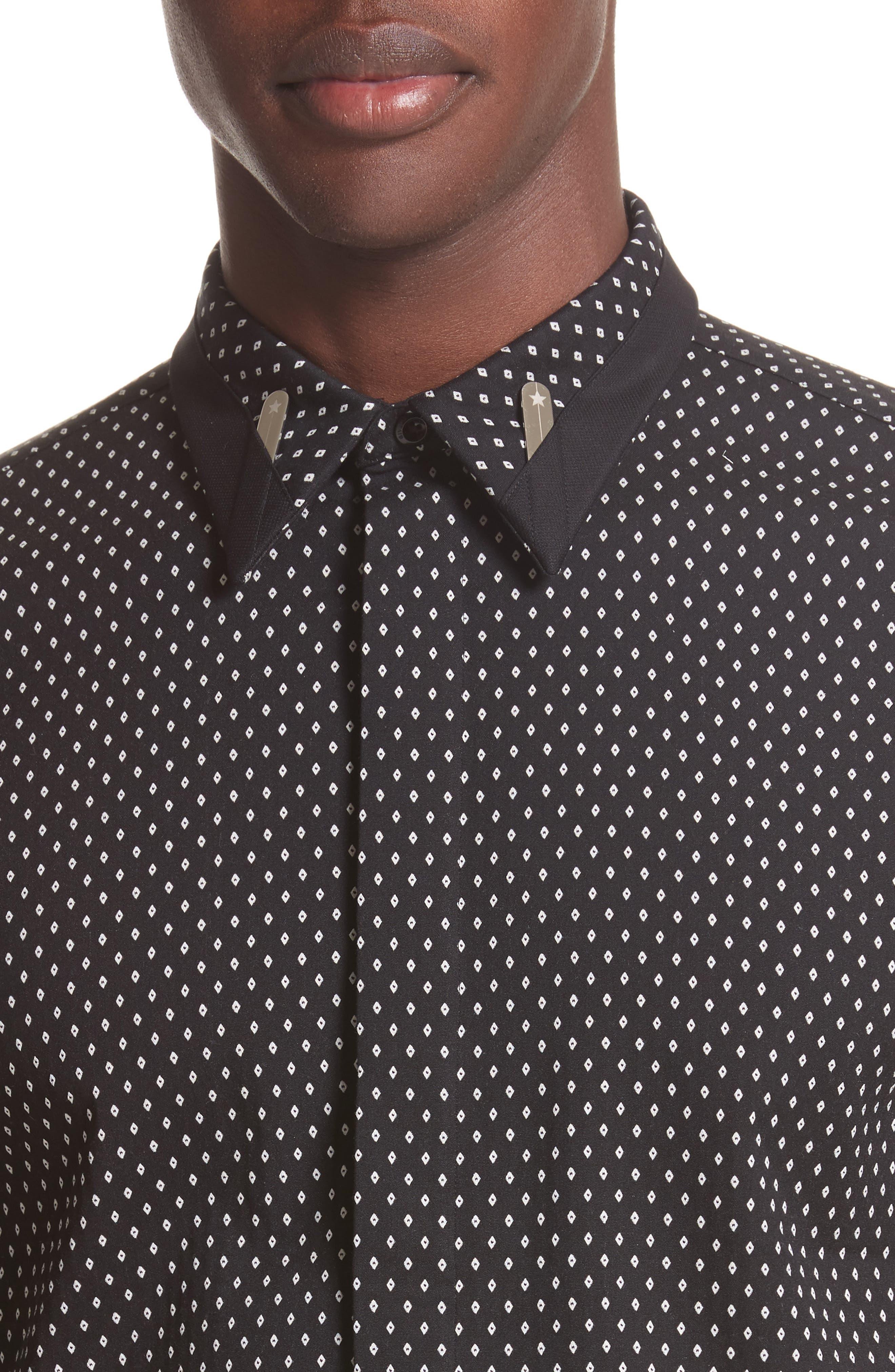 Jacquard Collar Stay Shirt,                             Alternate thumbnail 5, color,                             001