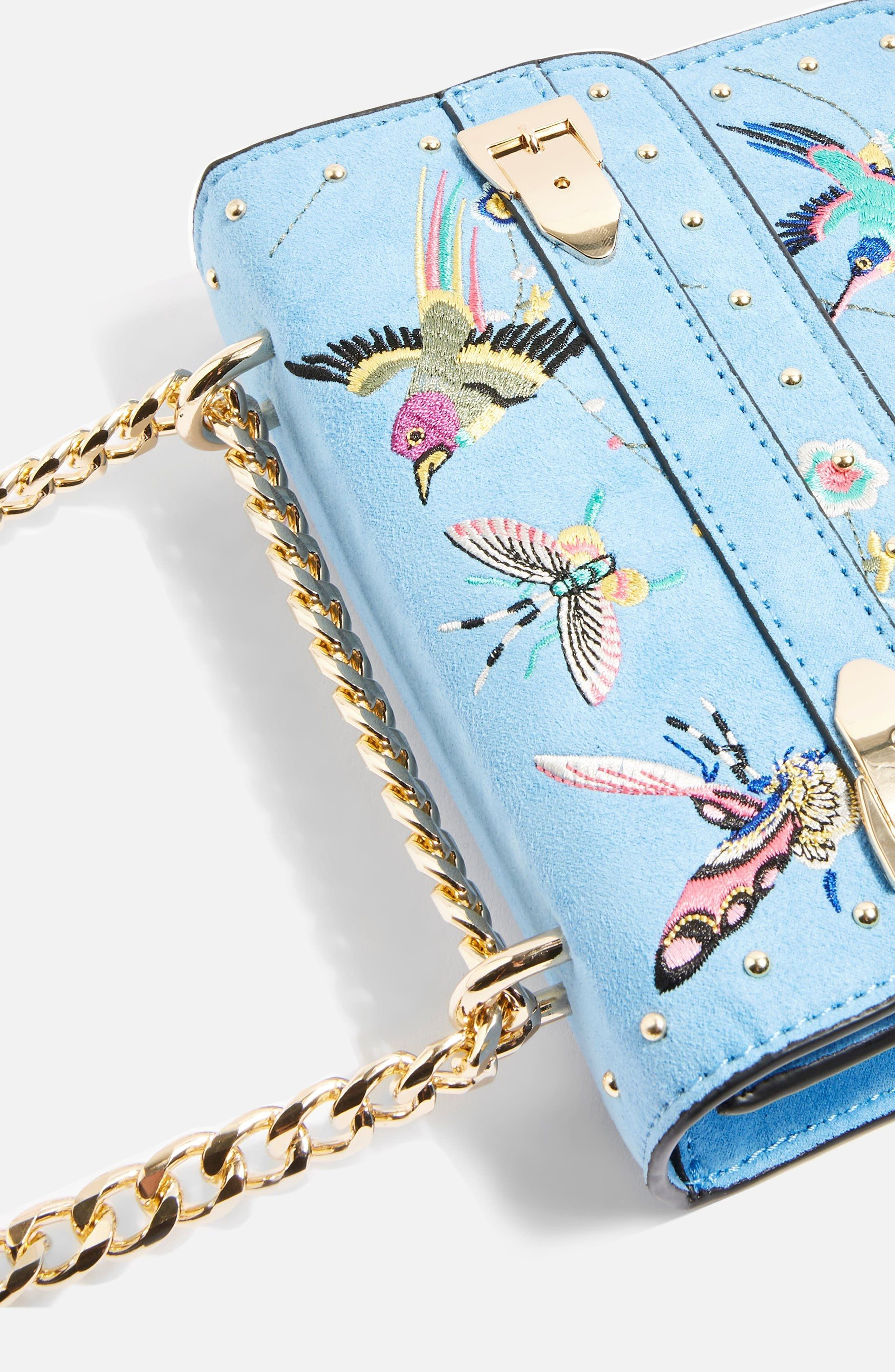 Polly Bird Embroidered Crossbody Bag,                             Alternate thumbnail 4, color,                             BLUE MULTI