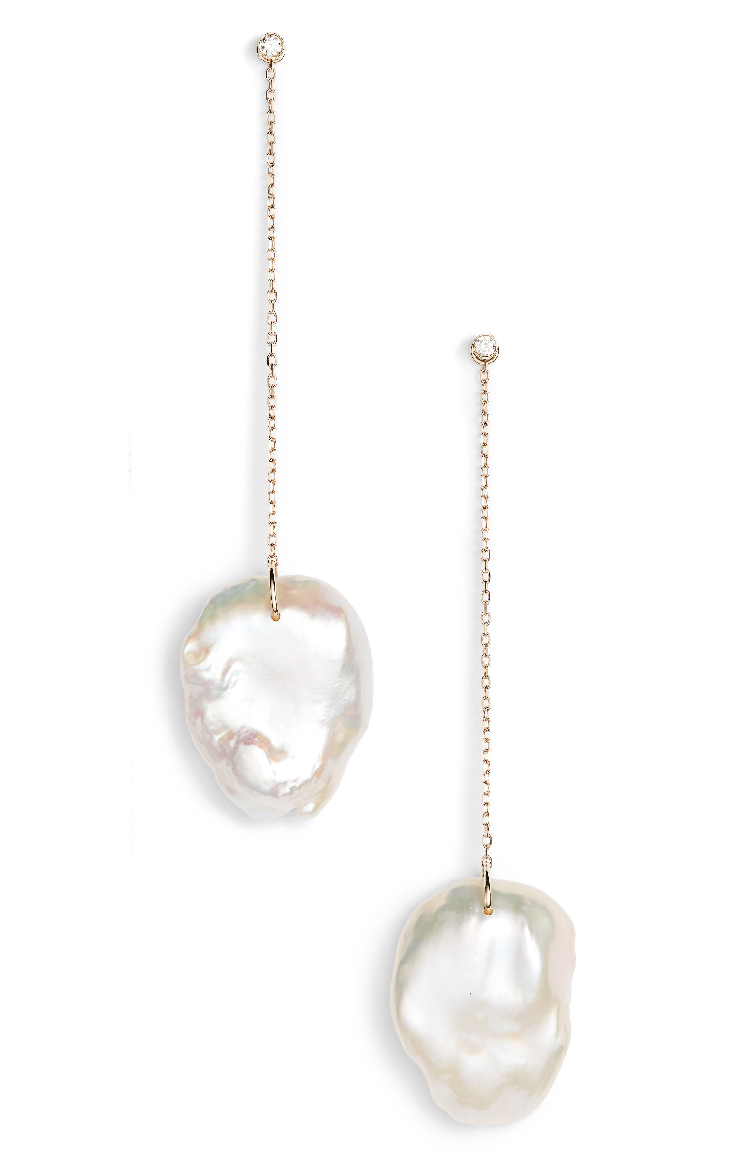 Flat Pearl & Diamond Linear Drop Earrings,                             Main thumbnail 1, color,                             YELLOW GOLD/ PEARL