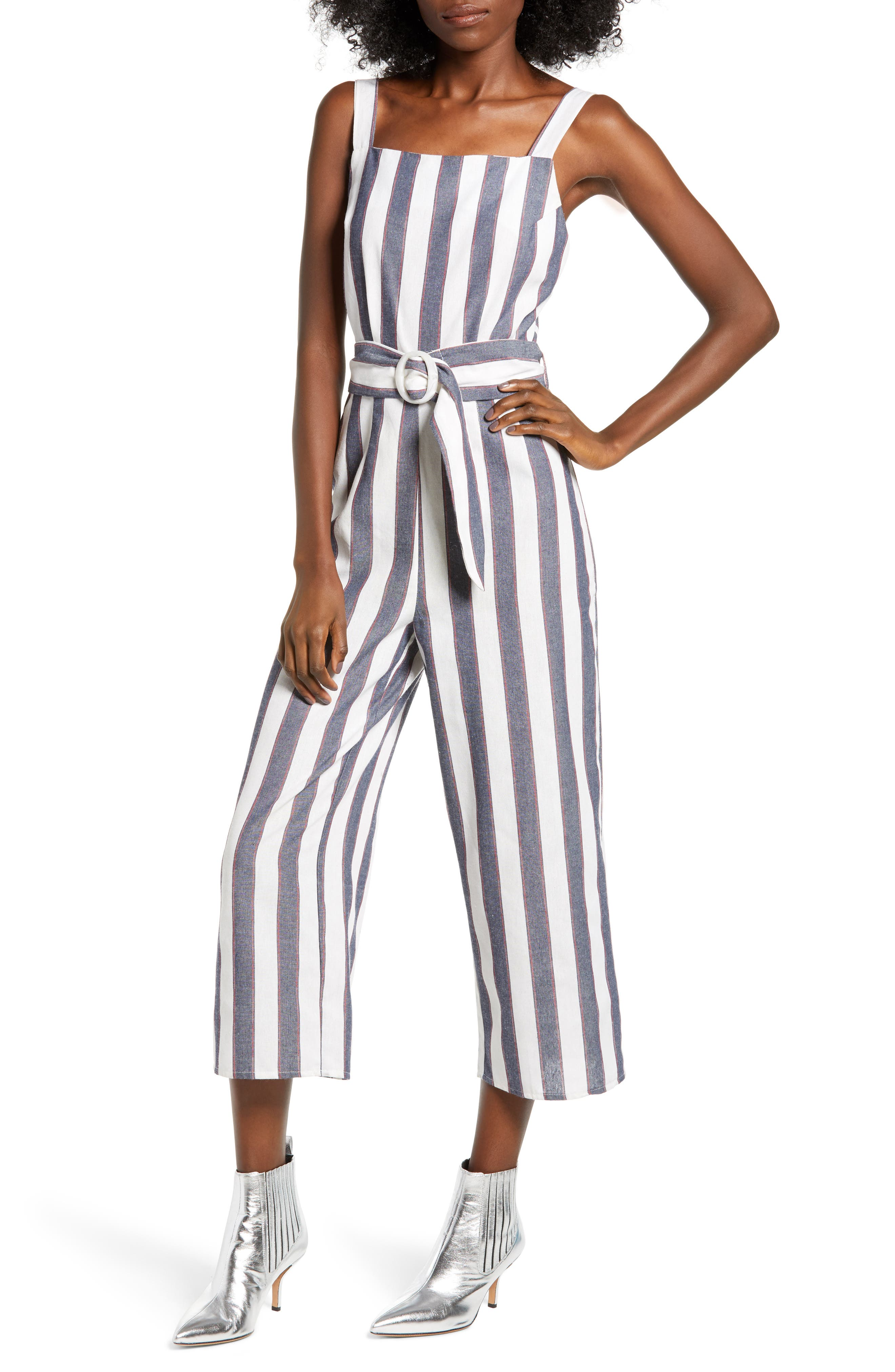 Sequence Striped Jumpsuit in Navy/ Ivory