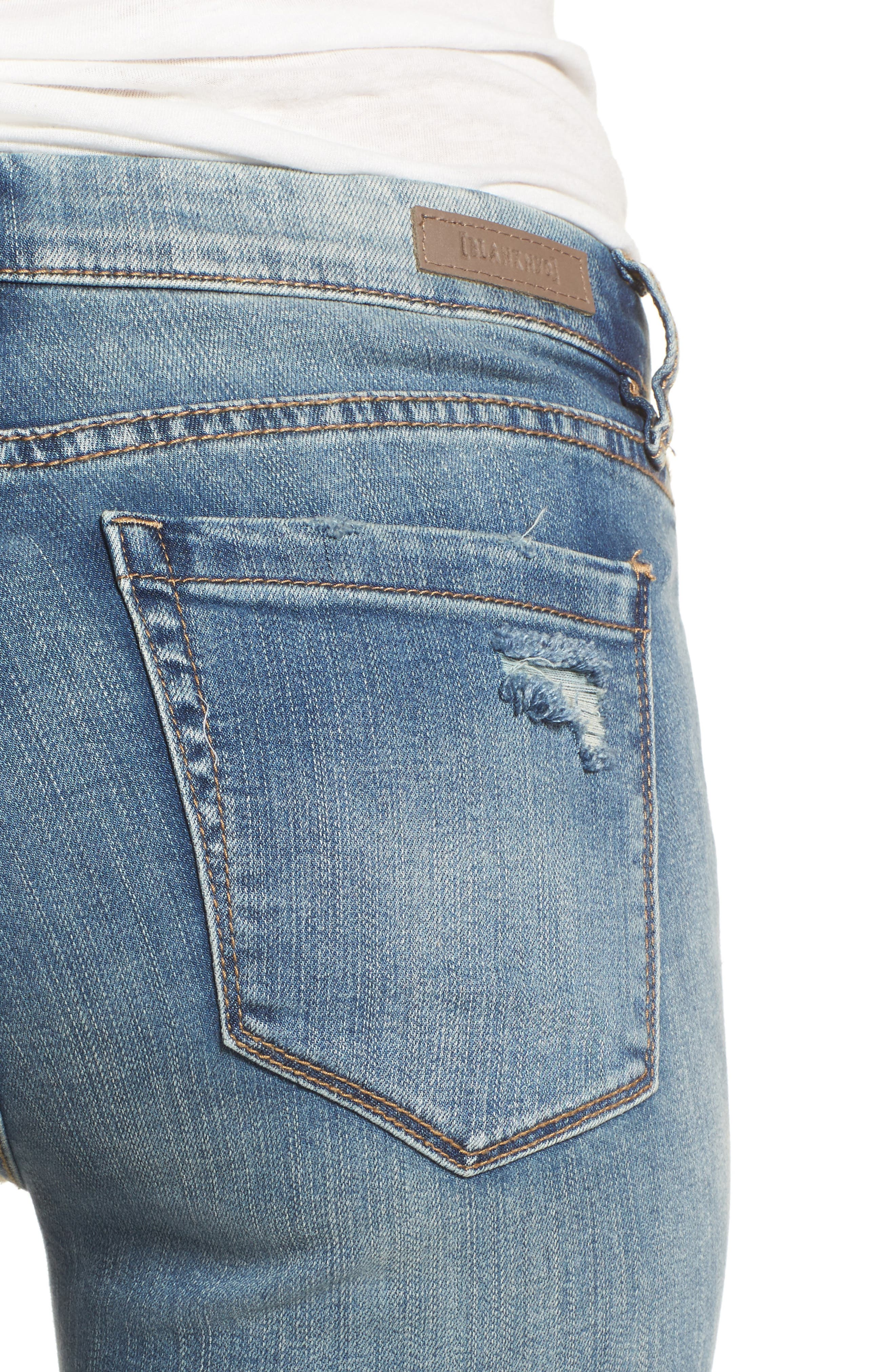 Distressed High Waist Skinny Jeans,                             Alternate thumbnail 4, color,                             400