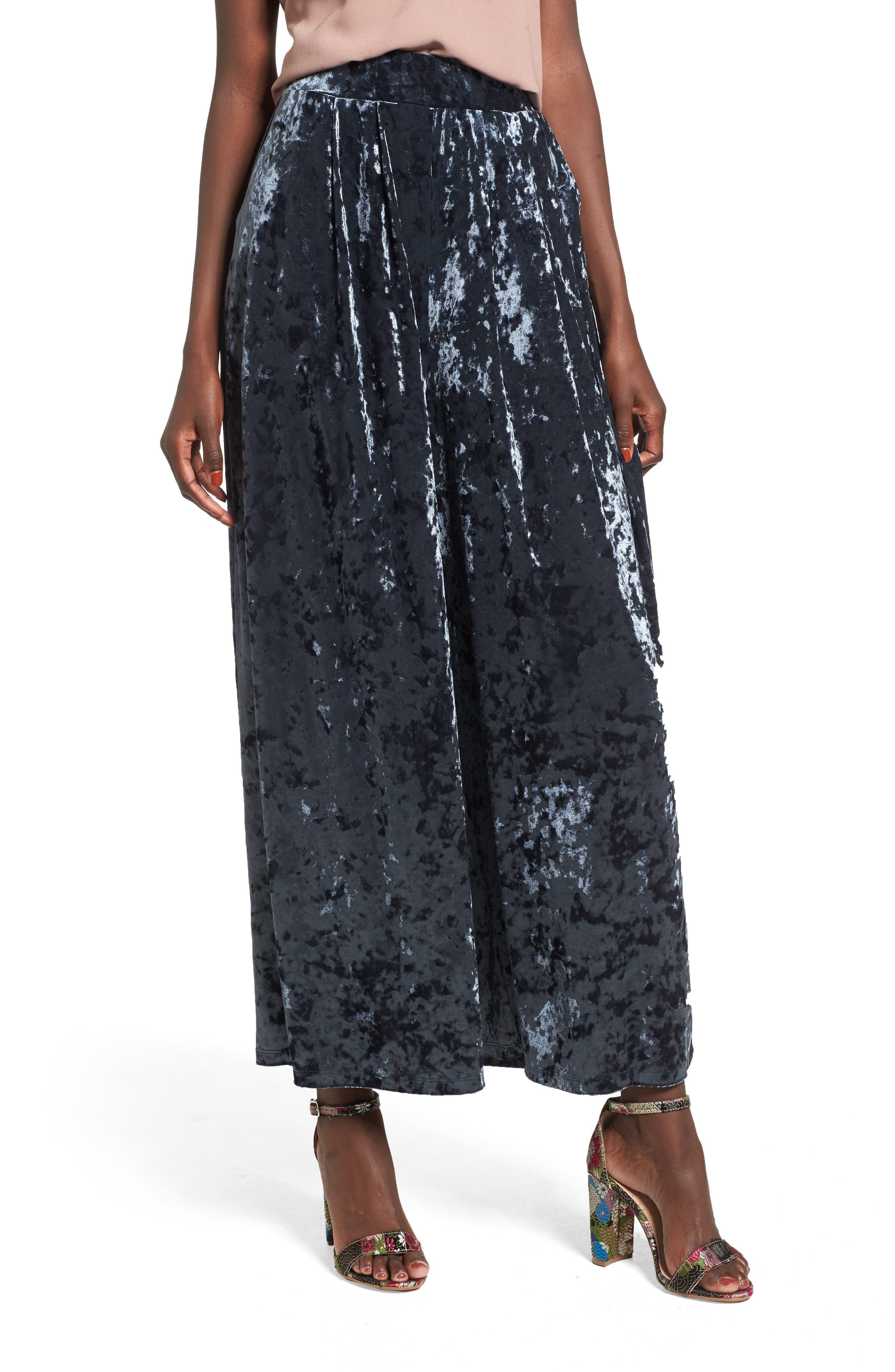 Crop Wide Leg Velour Pants,                         Main,                         color,
