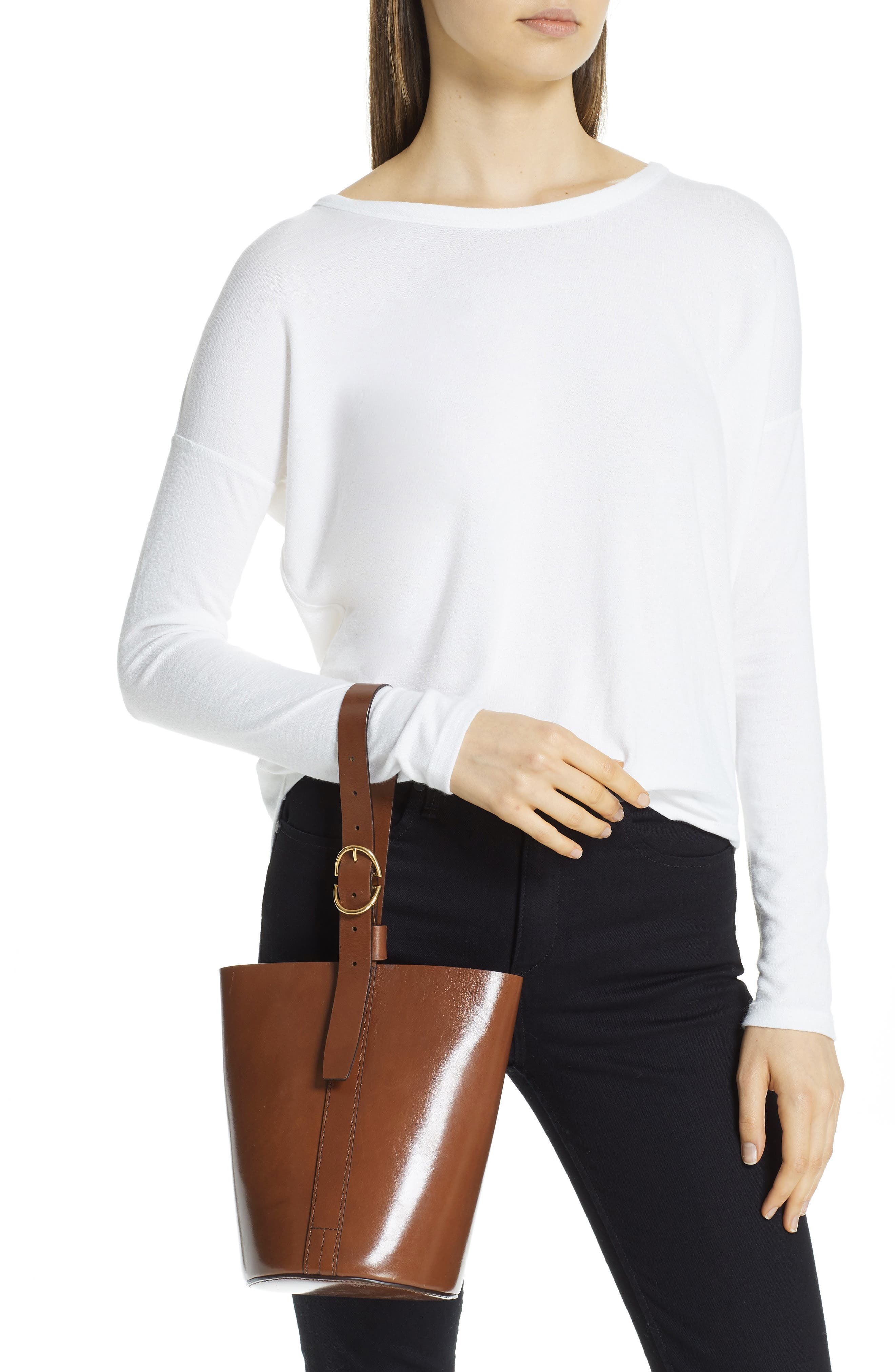 TRADEMARK,                             Small Leather Bucket Bag,                             Alternate thumbnail 2, color,                             201