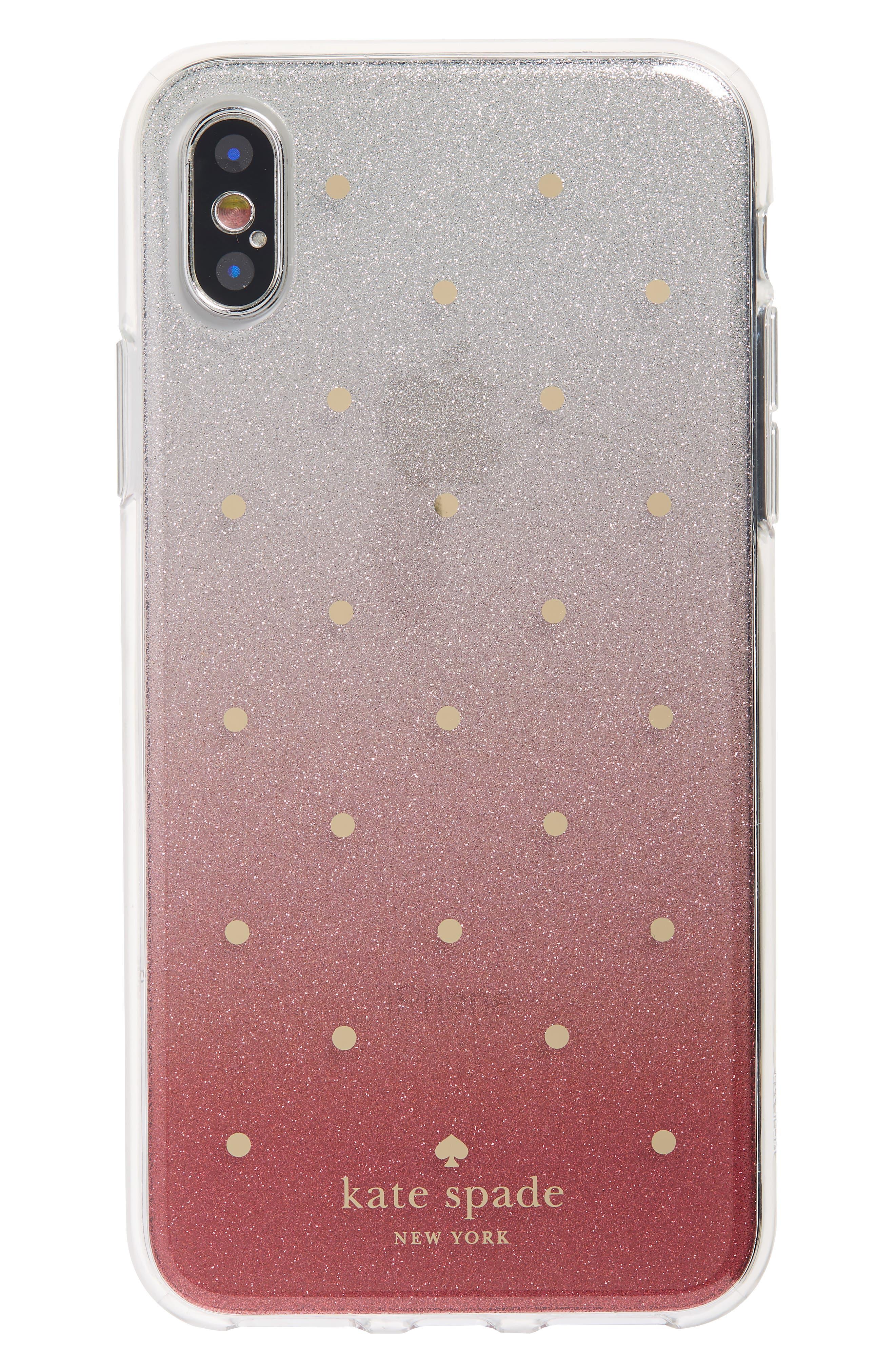glitter ombré iPhone X/Xs case,                             Main thumbnail 1, color,                             PINK MULTI