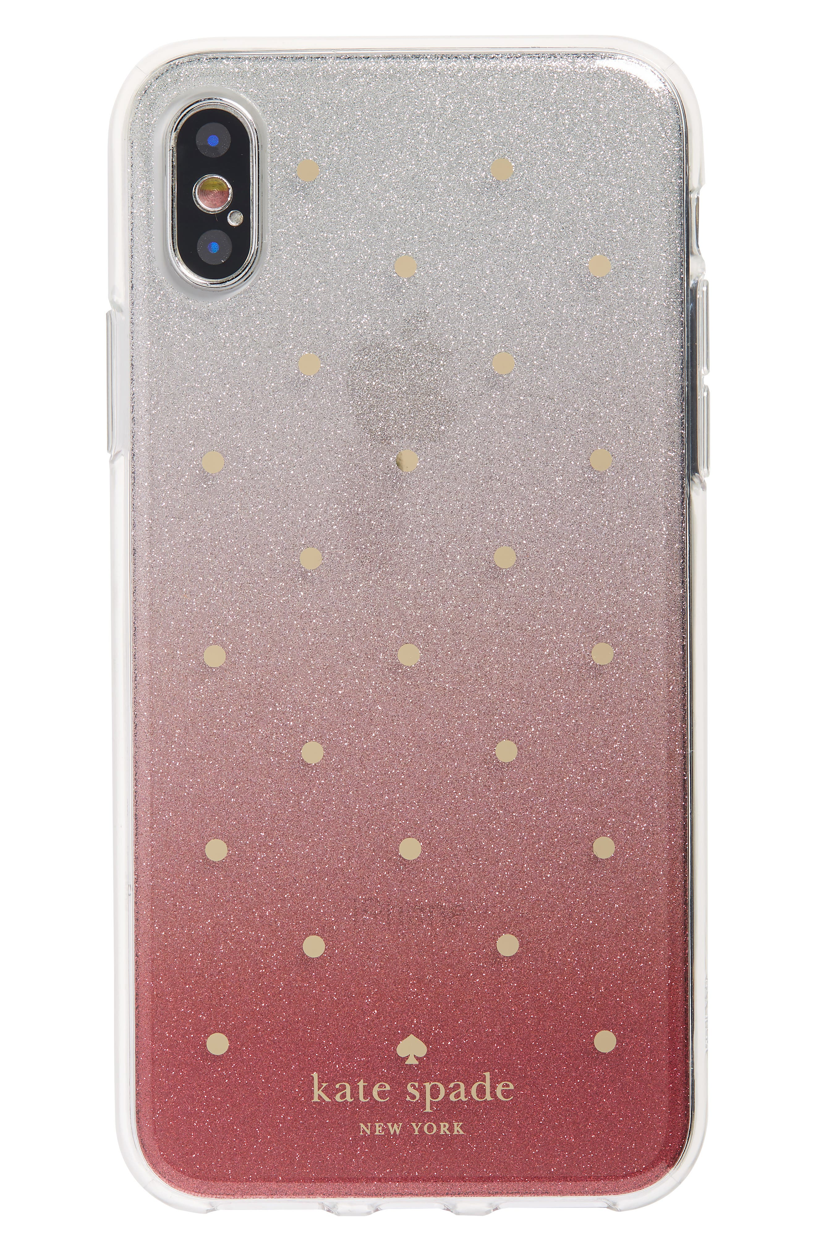 glitter ombré iPhone X/Xs case,                         Main,                         color, PINK MULTI