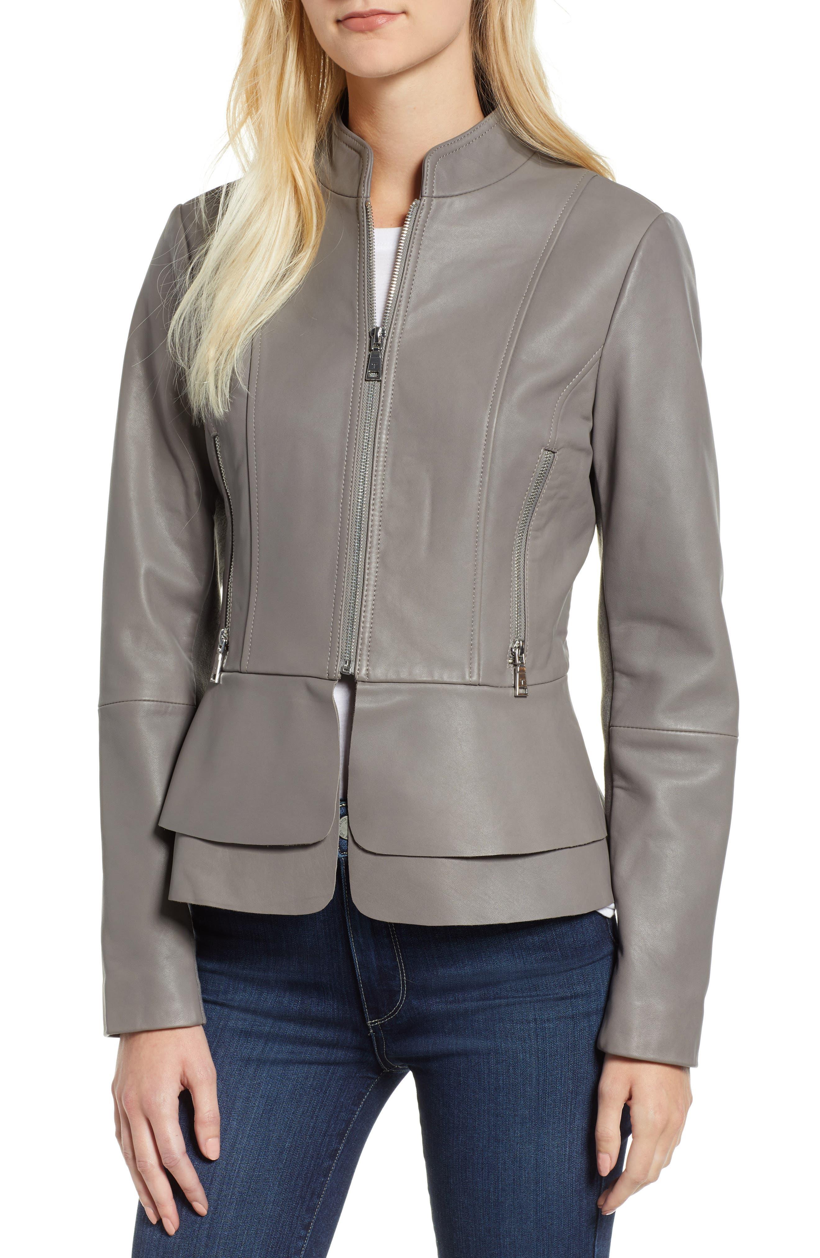 Thea Peplum Hem Leather Jacket,                         Main,                         color, 020