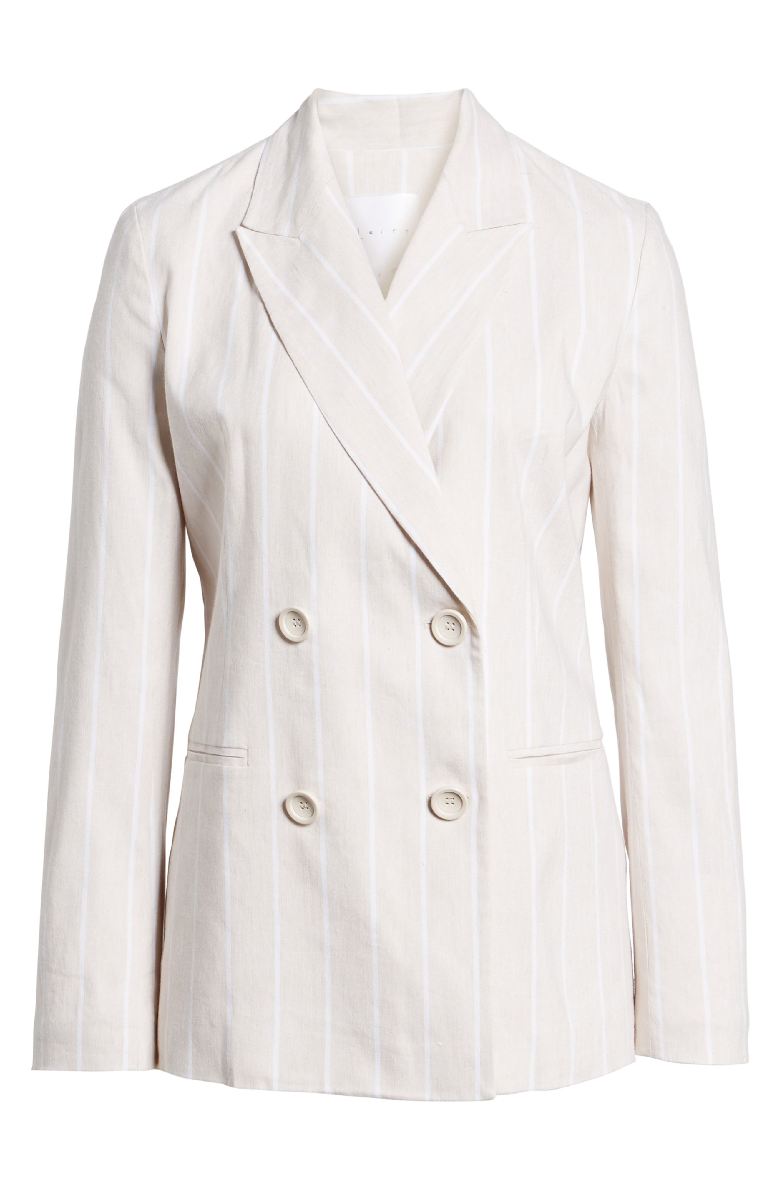 LEITH,                             Double Breasted Linen Blend Blazer,                             Alternate thumbnail 6, color,                             260