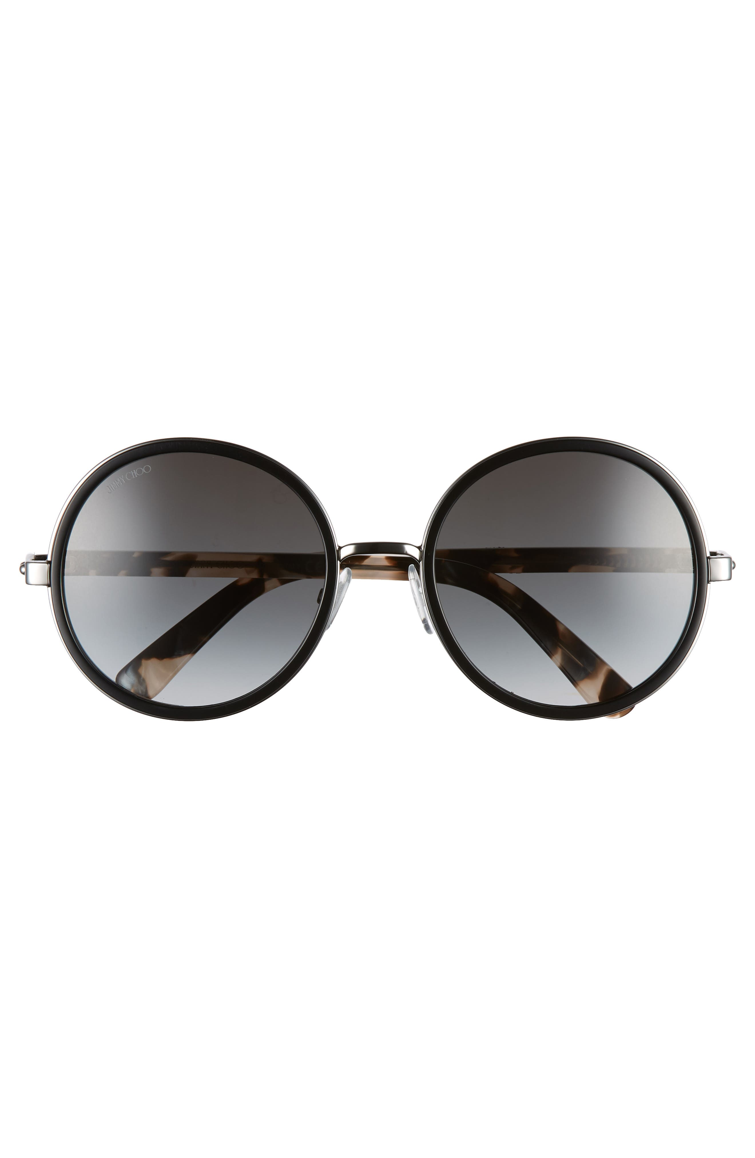 Andiens 54mm Round Sunglasses,                             Alternate thumbnail 3, color,                             BLACK