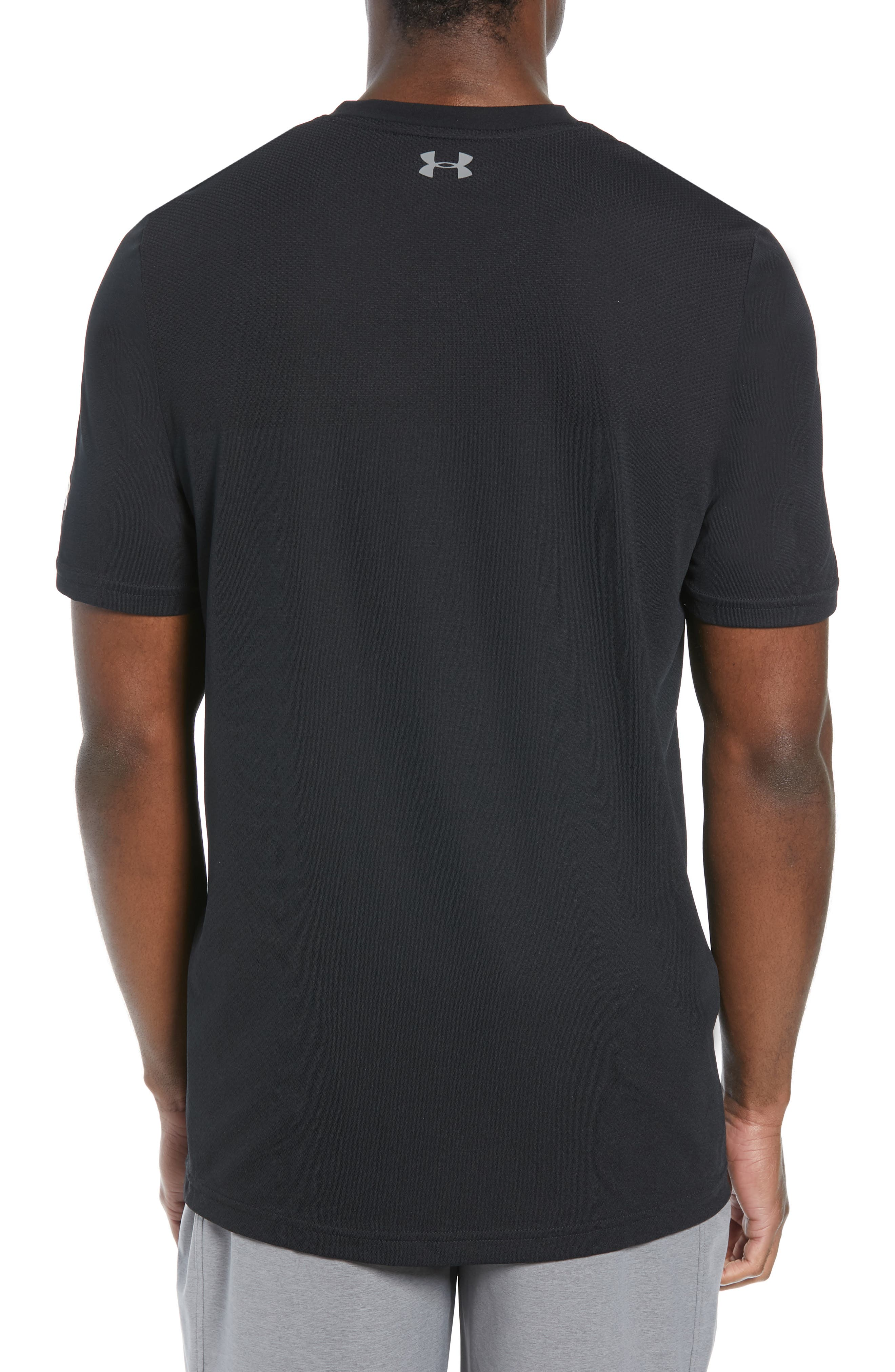 Vanish Seamless V-Neck T-Shirt,                             Alternate thumbnail 2, color,                             BLACK