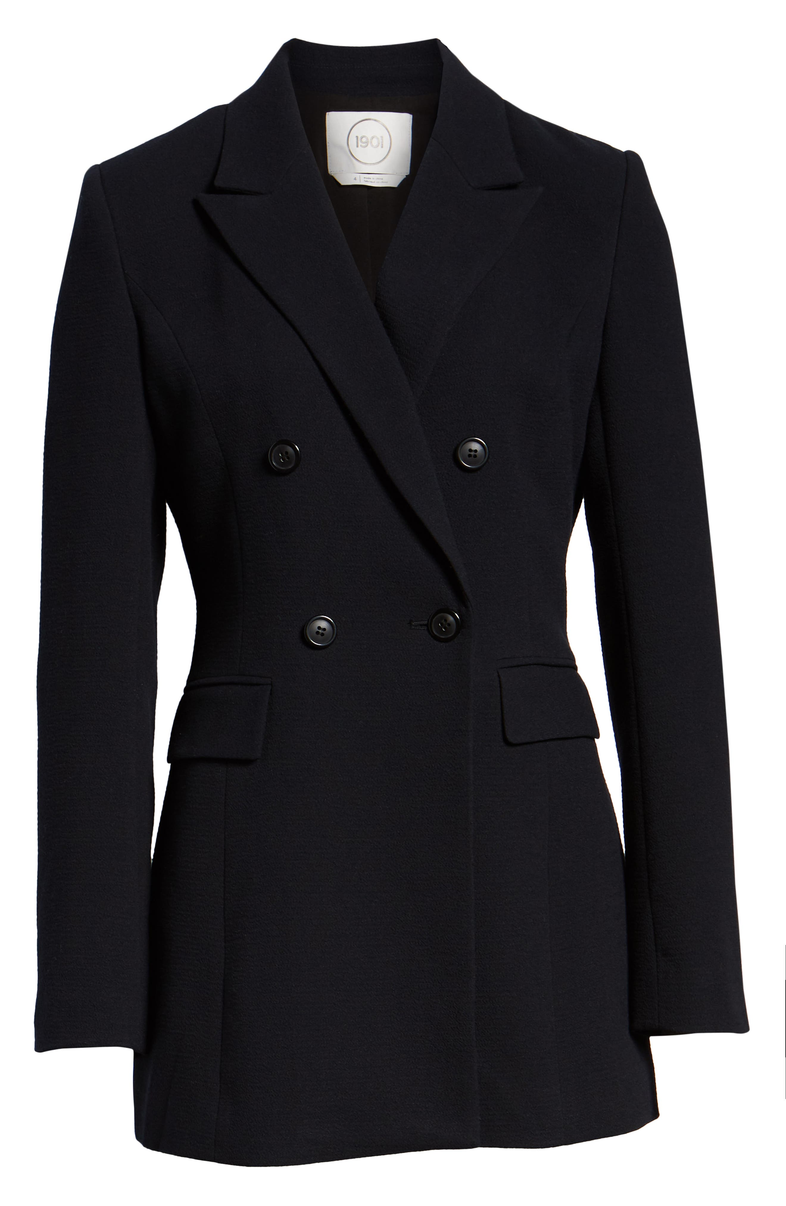 Double Breasted Crepe Blazer,                             Alternate thumbnail 6, color,                             001