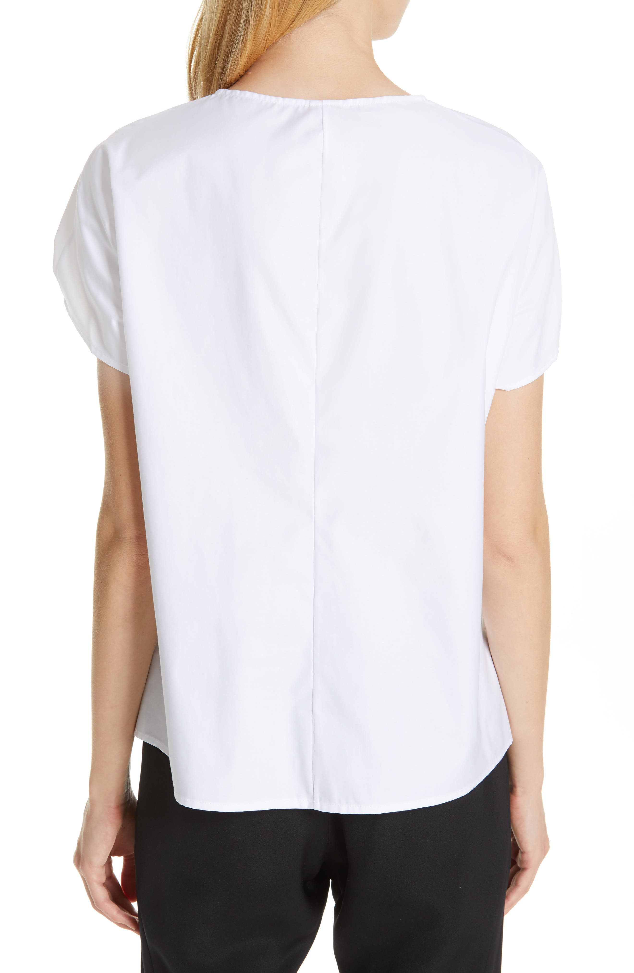 Ruched Cotton Poplin Top,                             Alternate thumbnail 2, color,                             WHITE PEPPER