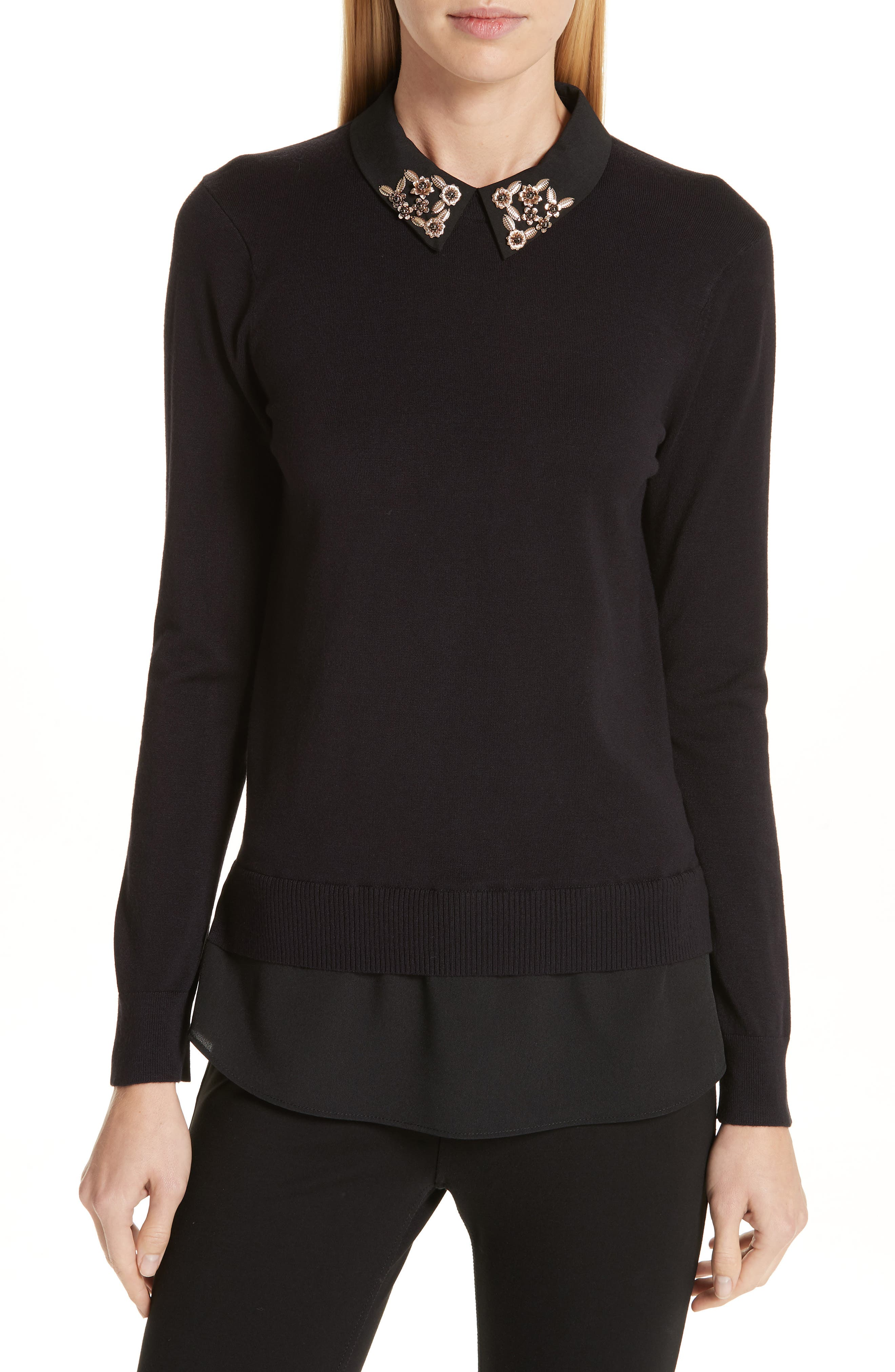 Moliiee Embroidered Collar Sweater,                             Main thumbnail 1, color,                             BLACK