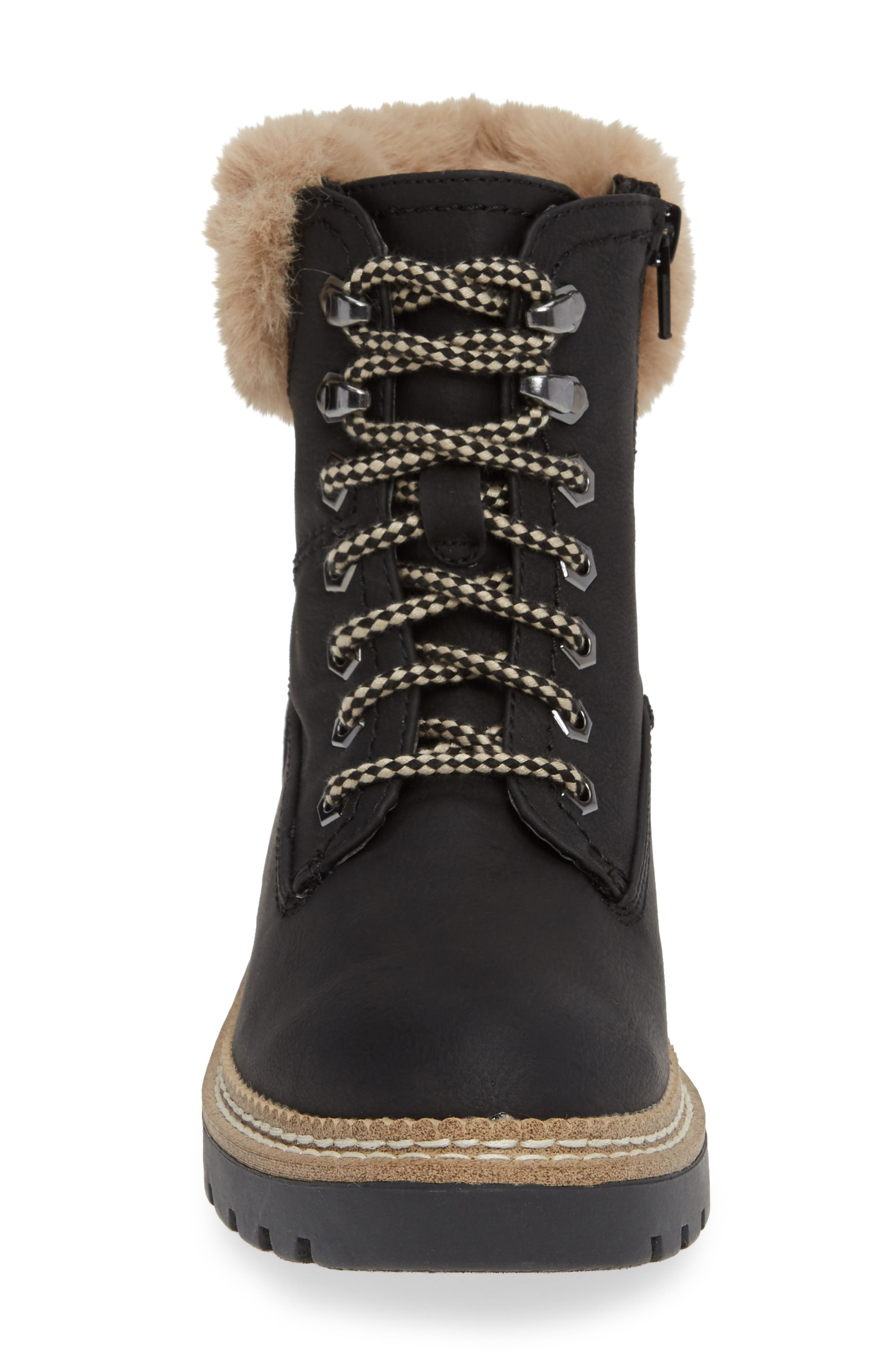 Alaska Lace-Up Bootie with Faux Fur Cuff,                             Alternate thumbnail 4, color,                             BLACK