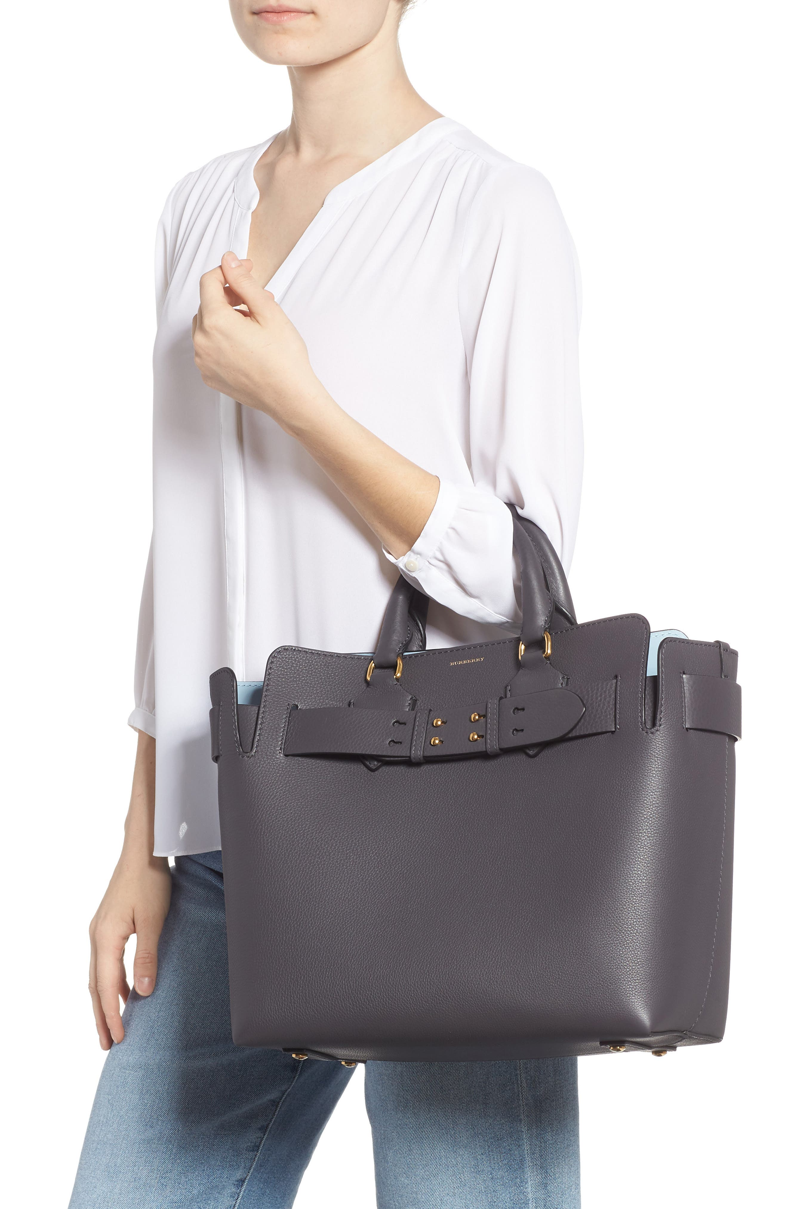 Medium Leather Belted Bag,                             Alternate thumbnail 2, color,                             CHARCOAL GREY