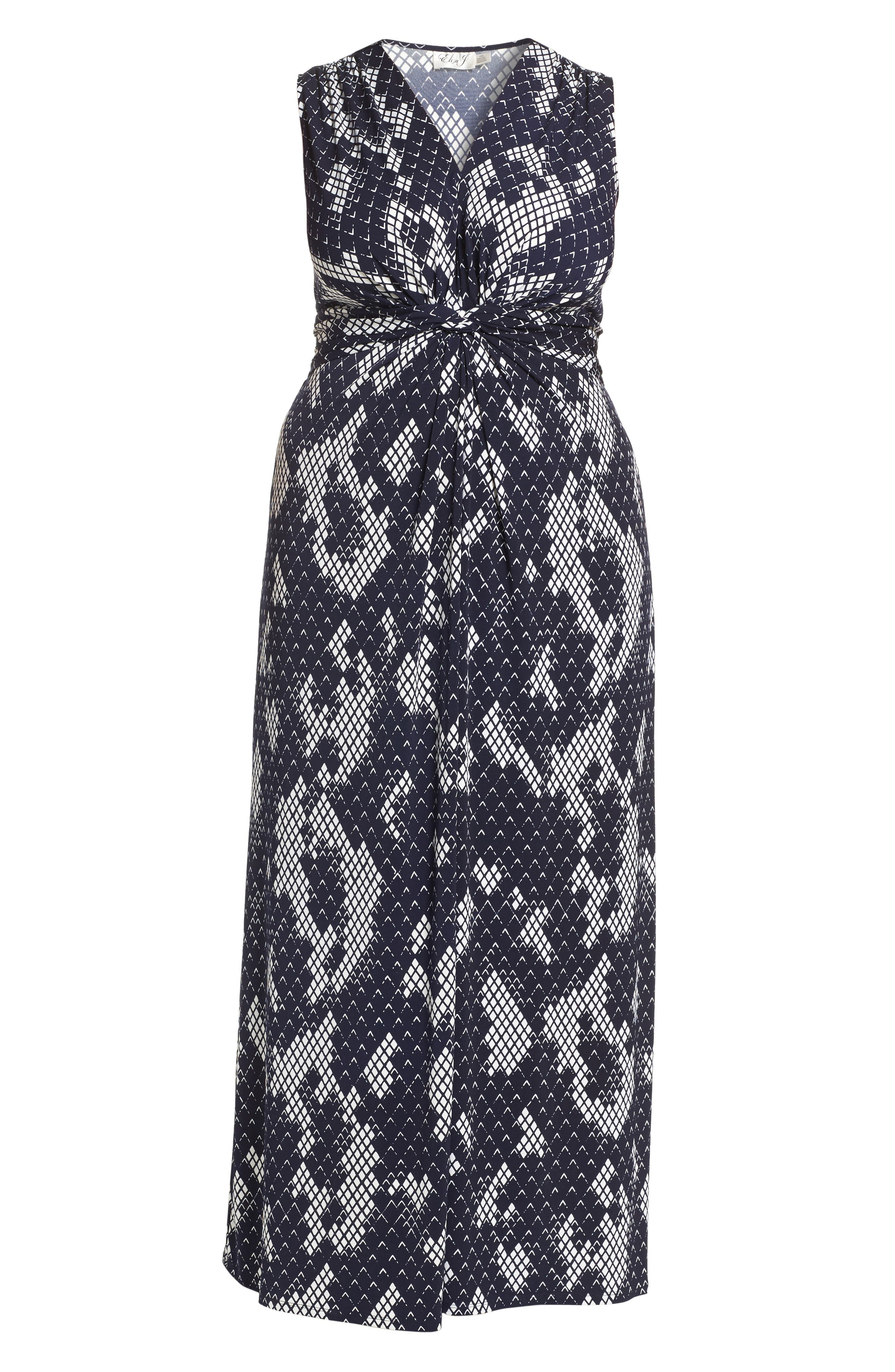 Knot Front Maxi Dress,                             Alternate thumbnail 6, color,                             NAVY/ IVORY