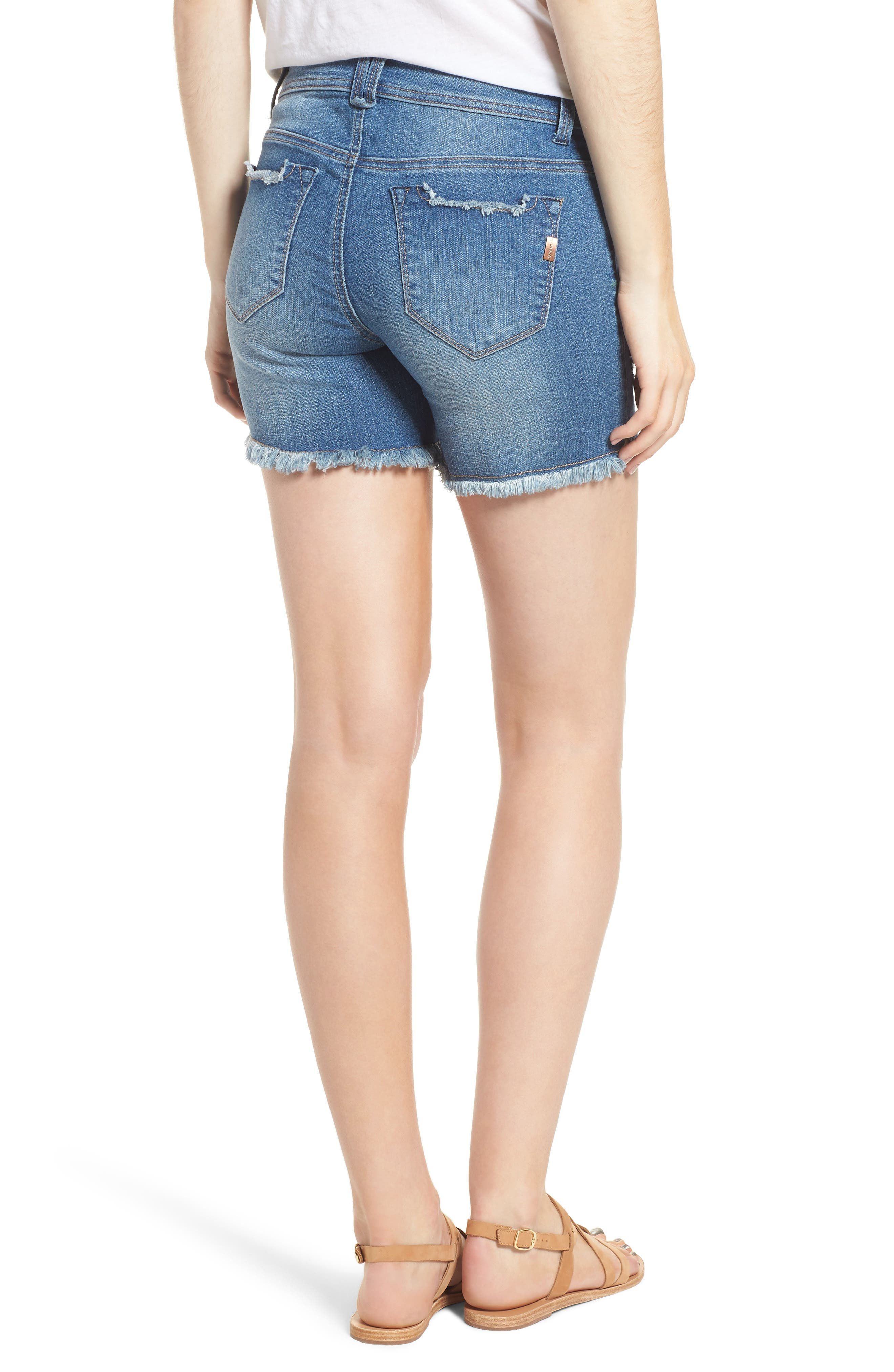 Raw Hem Denim Shorts,                             Alternate thumbnail 2, color,                             400