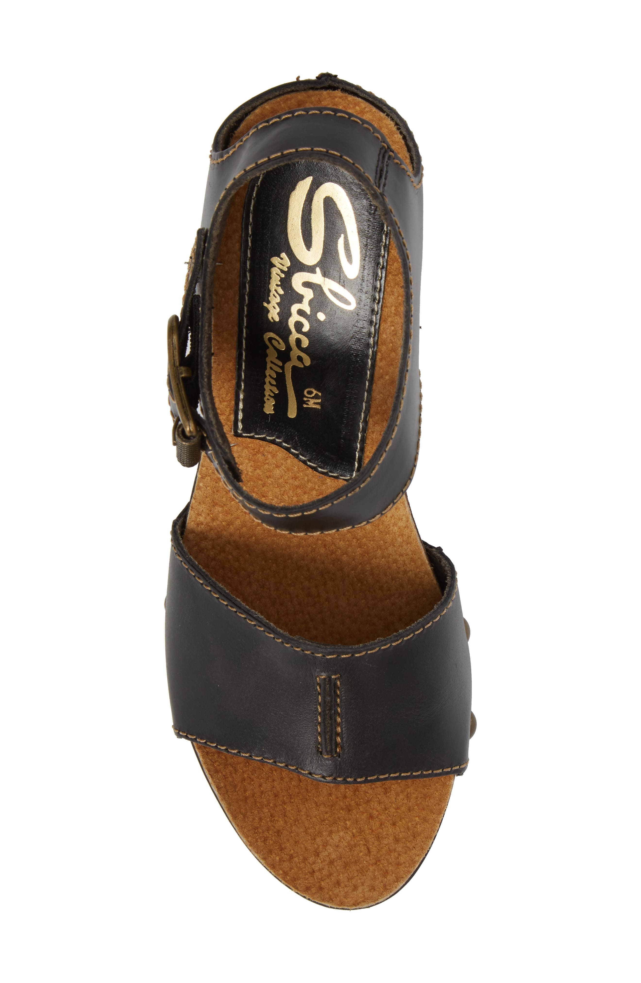 Brella Studded Platform Wedge Sandal,                             Alternate thumbnail 5, color,                             BLACK