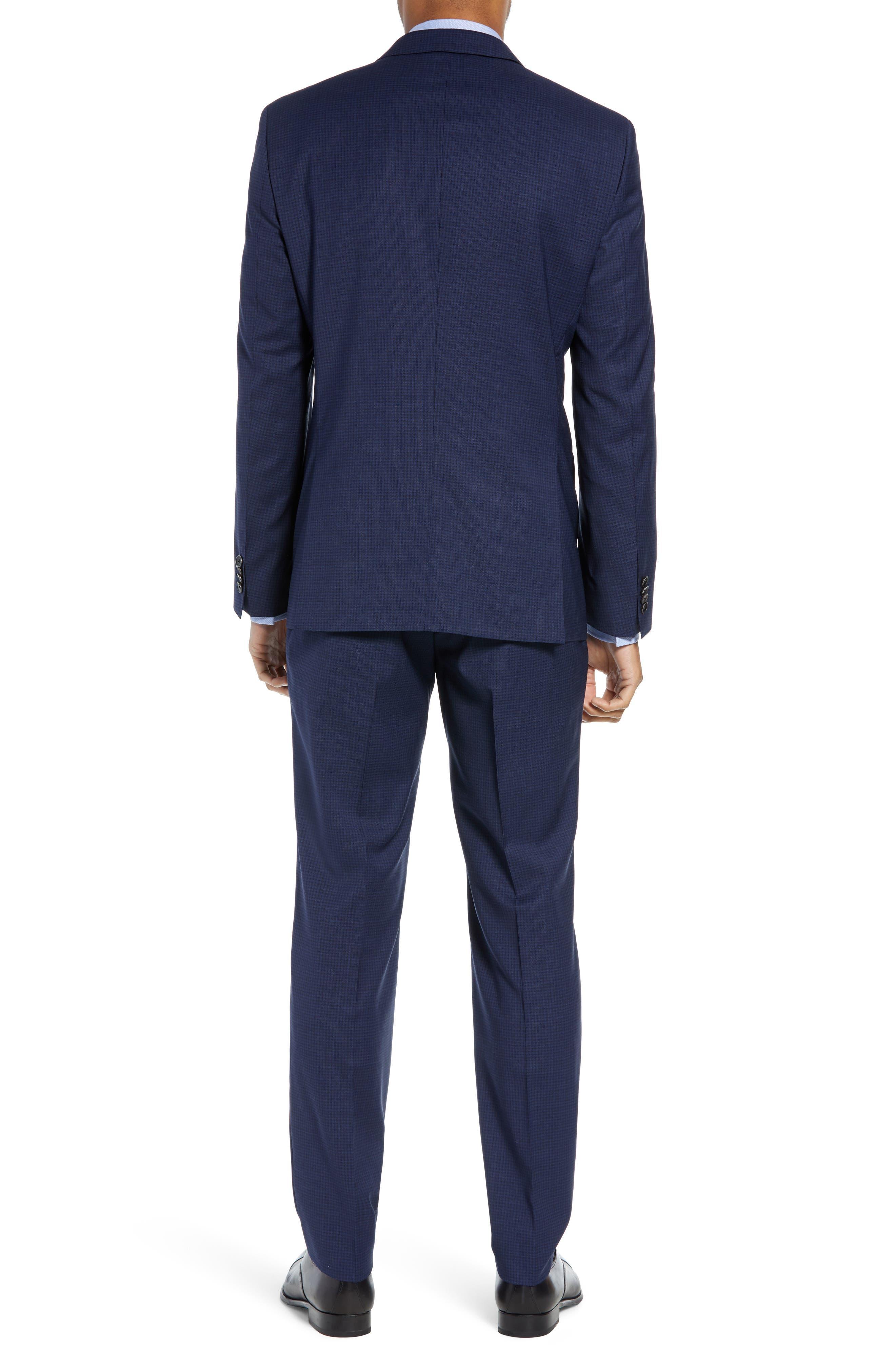 Huge/Genius Trim Fit Solid Wool Suit,                             Alternate thumbnail 2, color,                             DARK BLUE