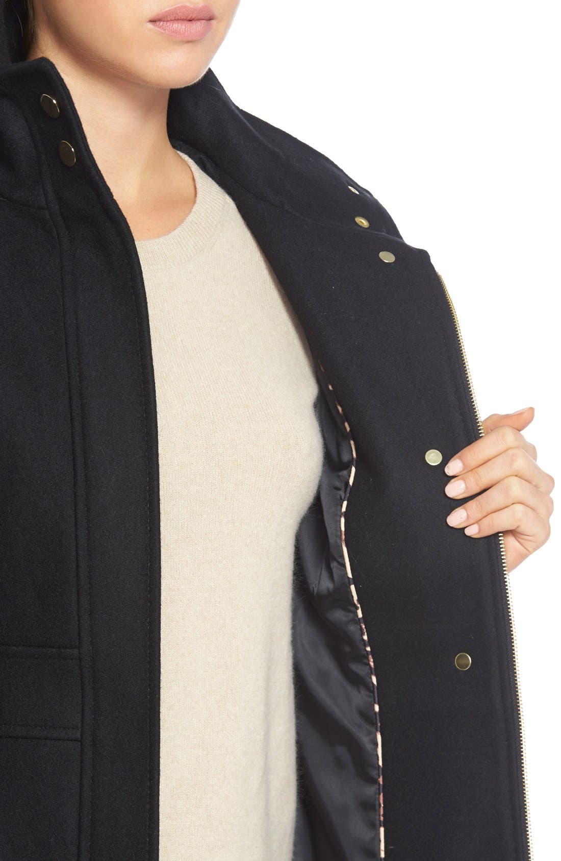 Wool Blend Coat with Faux Leather Trim,                             Alternate thumbnail 6, color,                             001