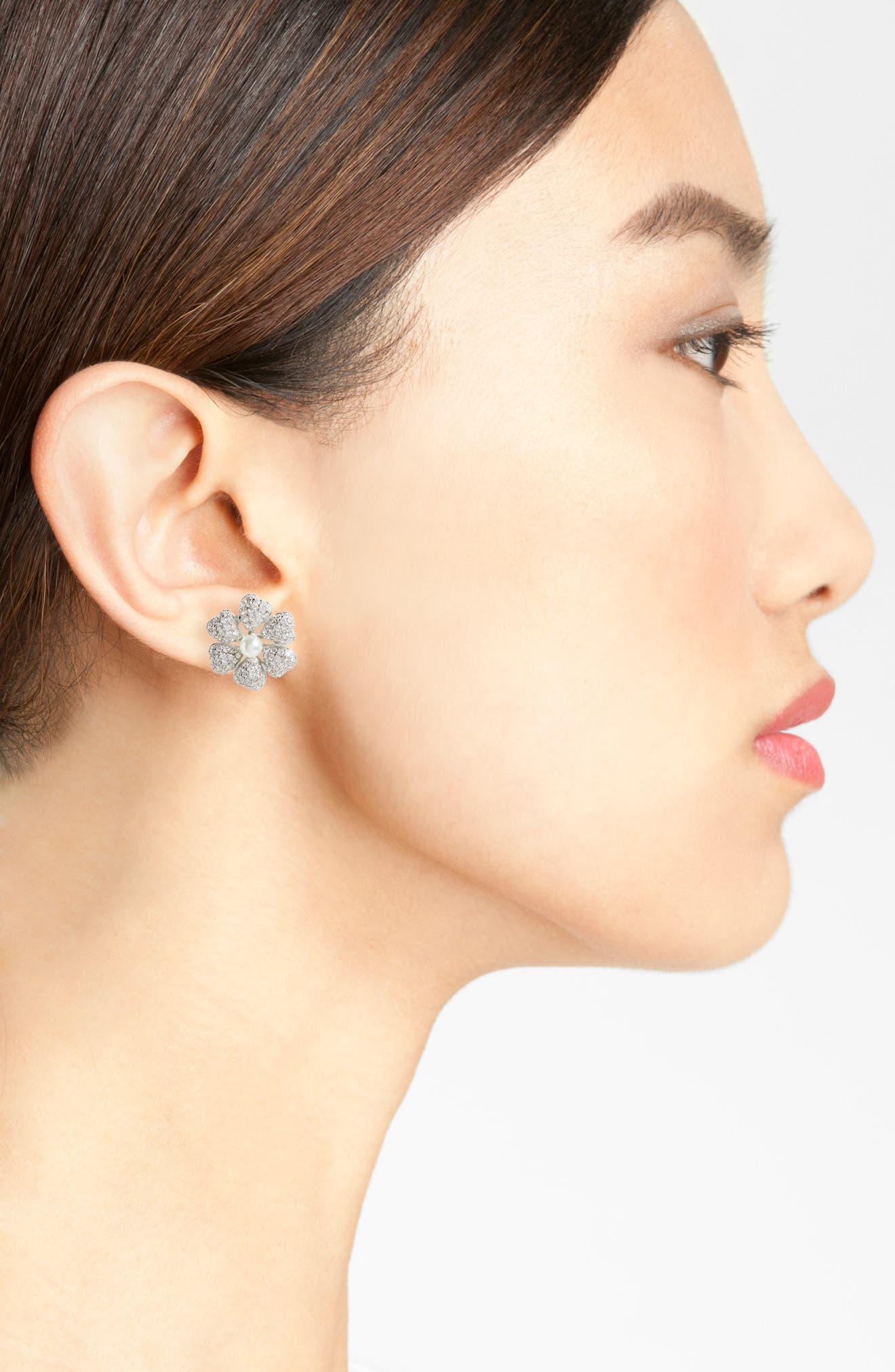 Flower Crystal & Imitation Pearl Stud Earrings,                             Alternate thumbnail 2, color,                             040