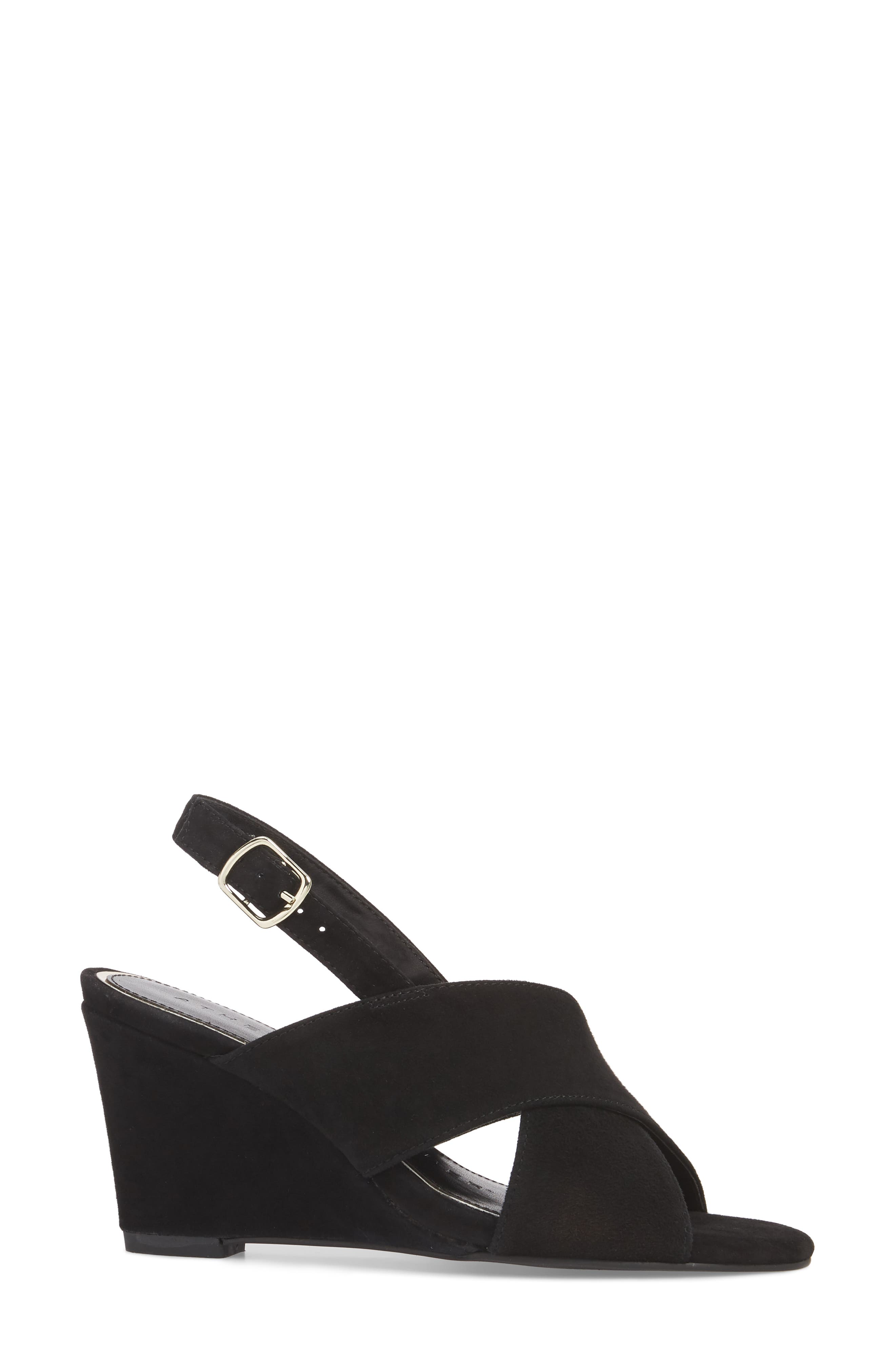 Eastford Wedge Sandal,                             Alternate thumbnail 3, color,                             BLACK SUEDE